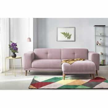 Canapea cu 3 locuri și suport pentru picioare Bobochic Paris Luna, roz la pret 2922 lei