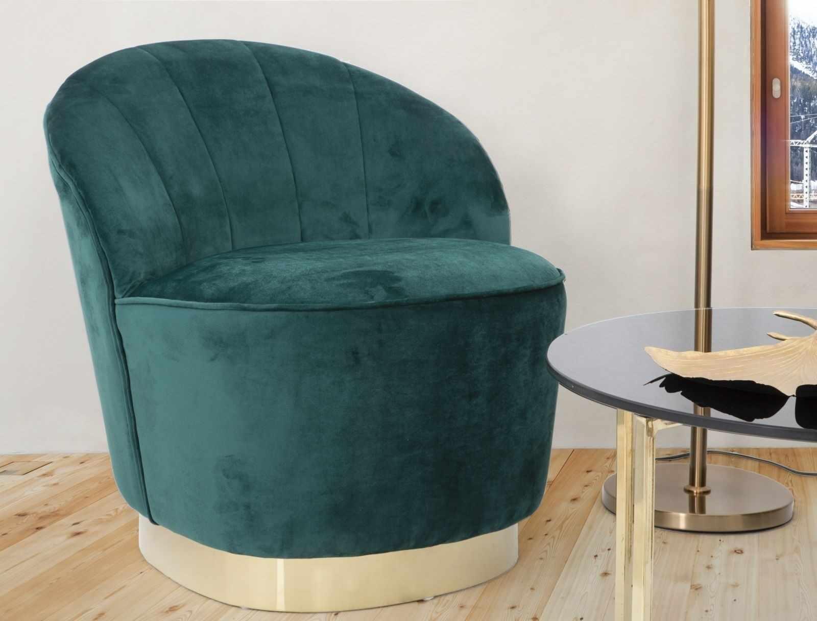 Fotoliu fix tapitat cu stofa Sopy Velvet Verde inchis / Auriu, l67xA71xH70 cm la pret 1572 lei