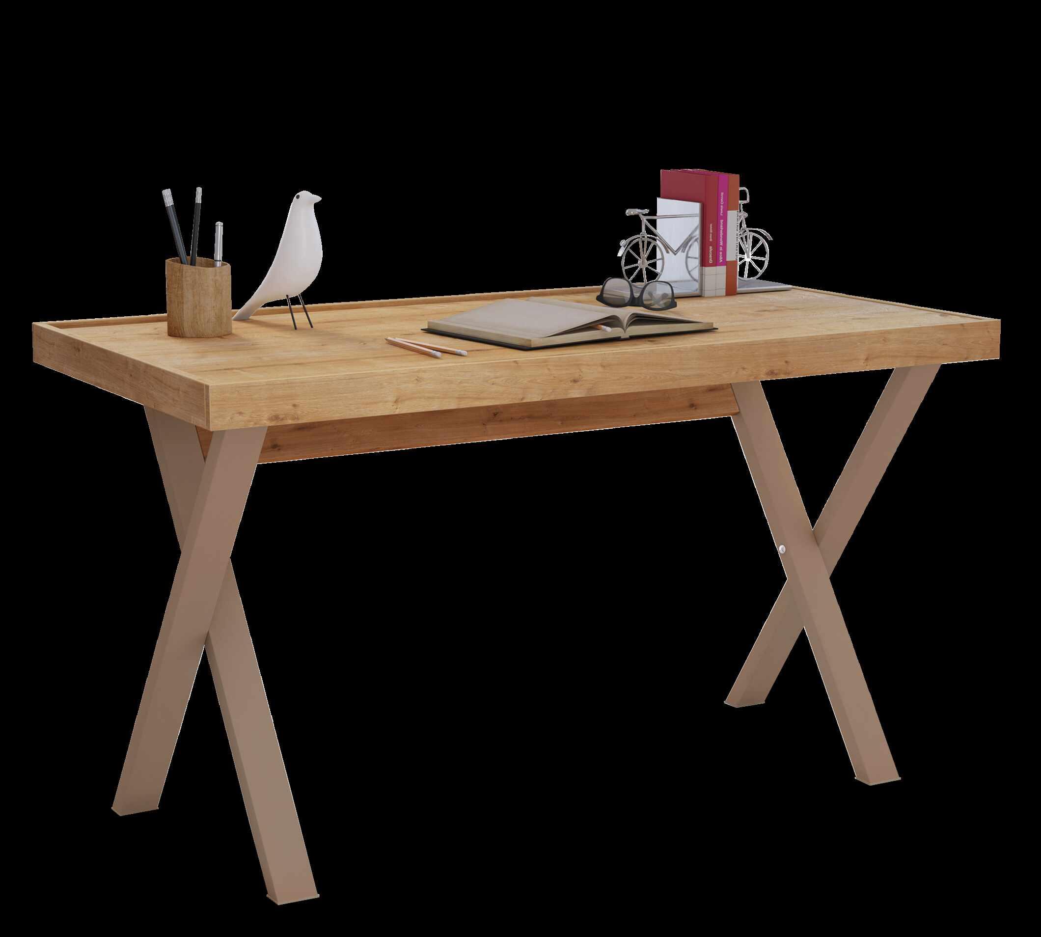 Masa de birou din pal si metal, pentru tineret Young Stejar, L130xl70xH75,5 cm la pret 845 lei