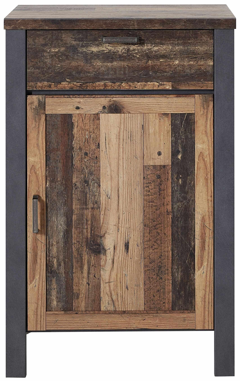 Cabinet din pal cu 1 usa si 1 sertar Chelsea Natural / Grafit, l69xA40xH105 cm la pret 1201 lei