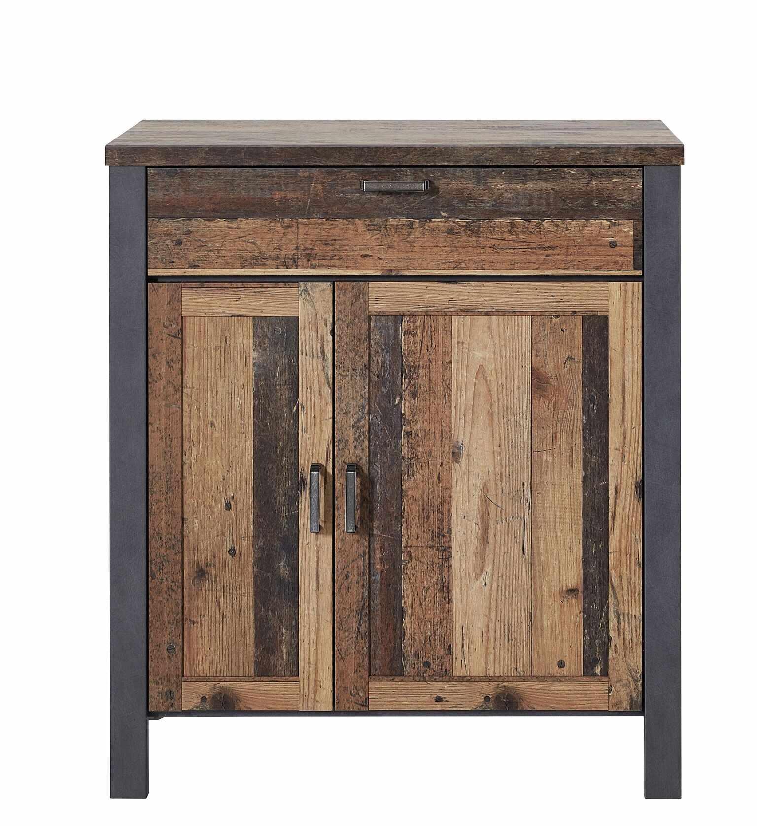 Cabinet din pal cu 2 usi si 1 sertar Chelsea Natural / Grafit, l94xA40xH105 cm la pret 1527 lei