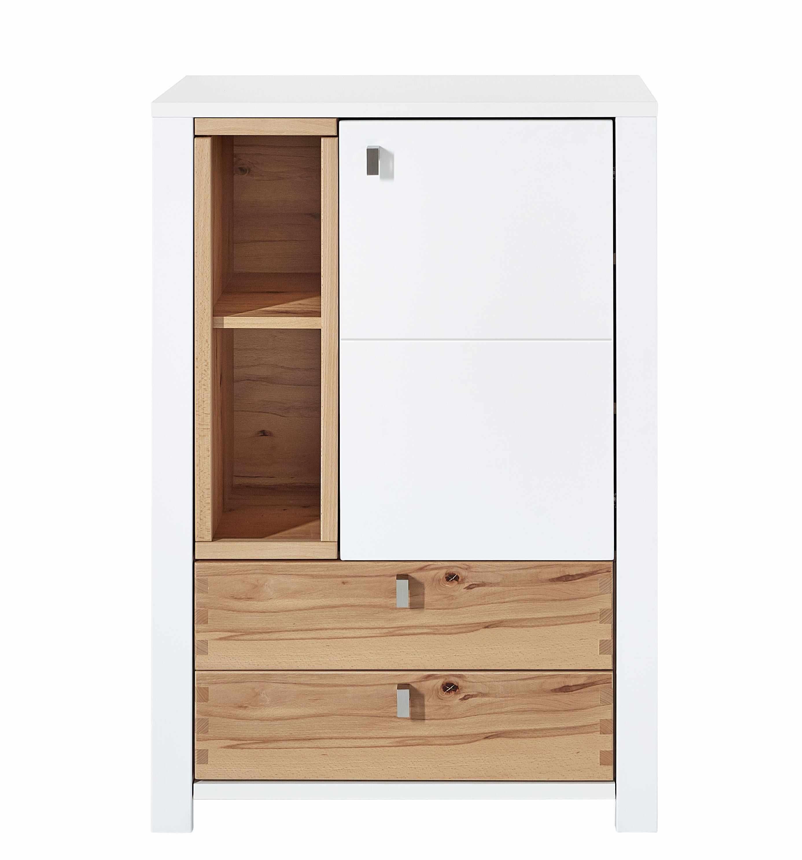 Cabinet din pal si MDF cu 2 sertare si 1 usa, Selina Alb / Natur, l73xA41xH106 cm la pret 1849 lei