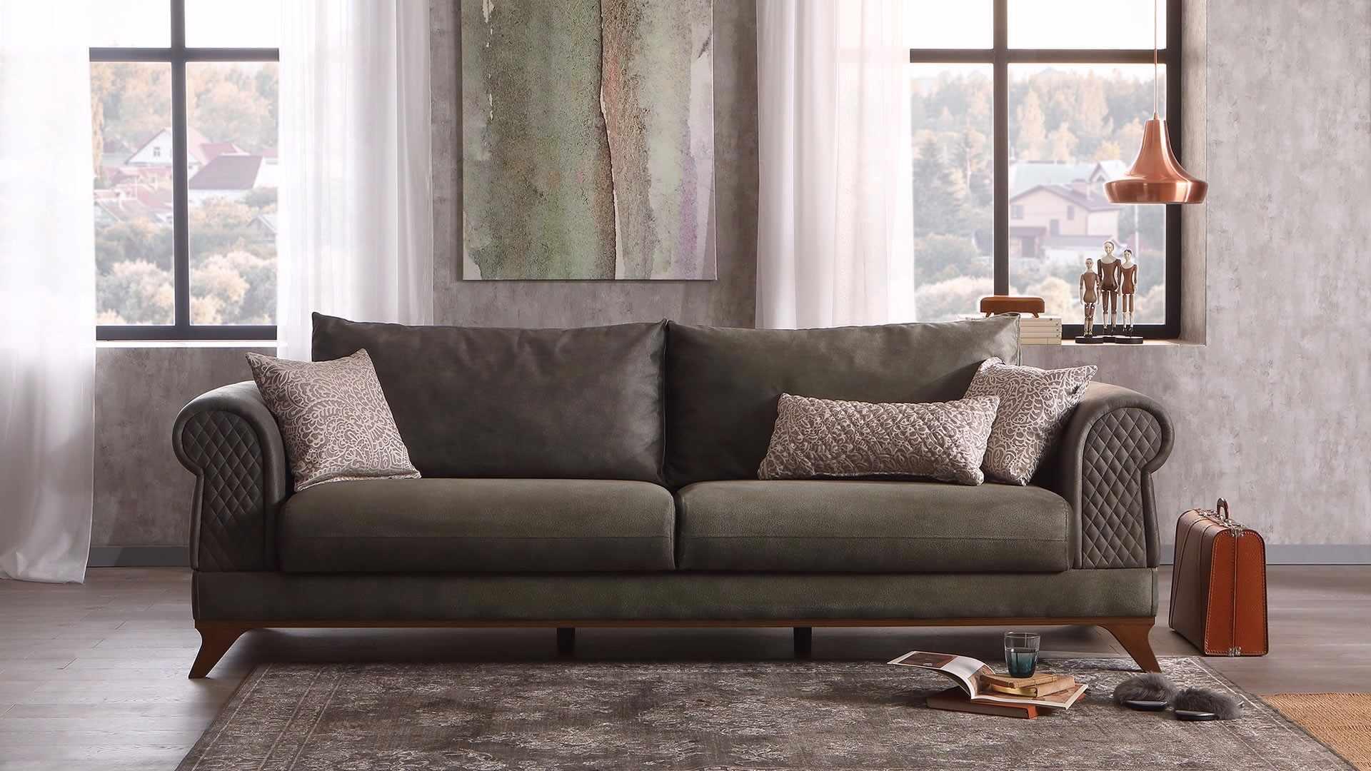 Canapea extensibila cu lada de depozitare, tapitata cu stofa, 3 locuri Raveno Verde Olive, l246xA100xH81 cm la pret 4531 lei