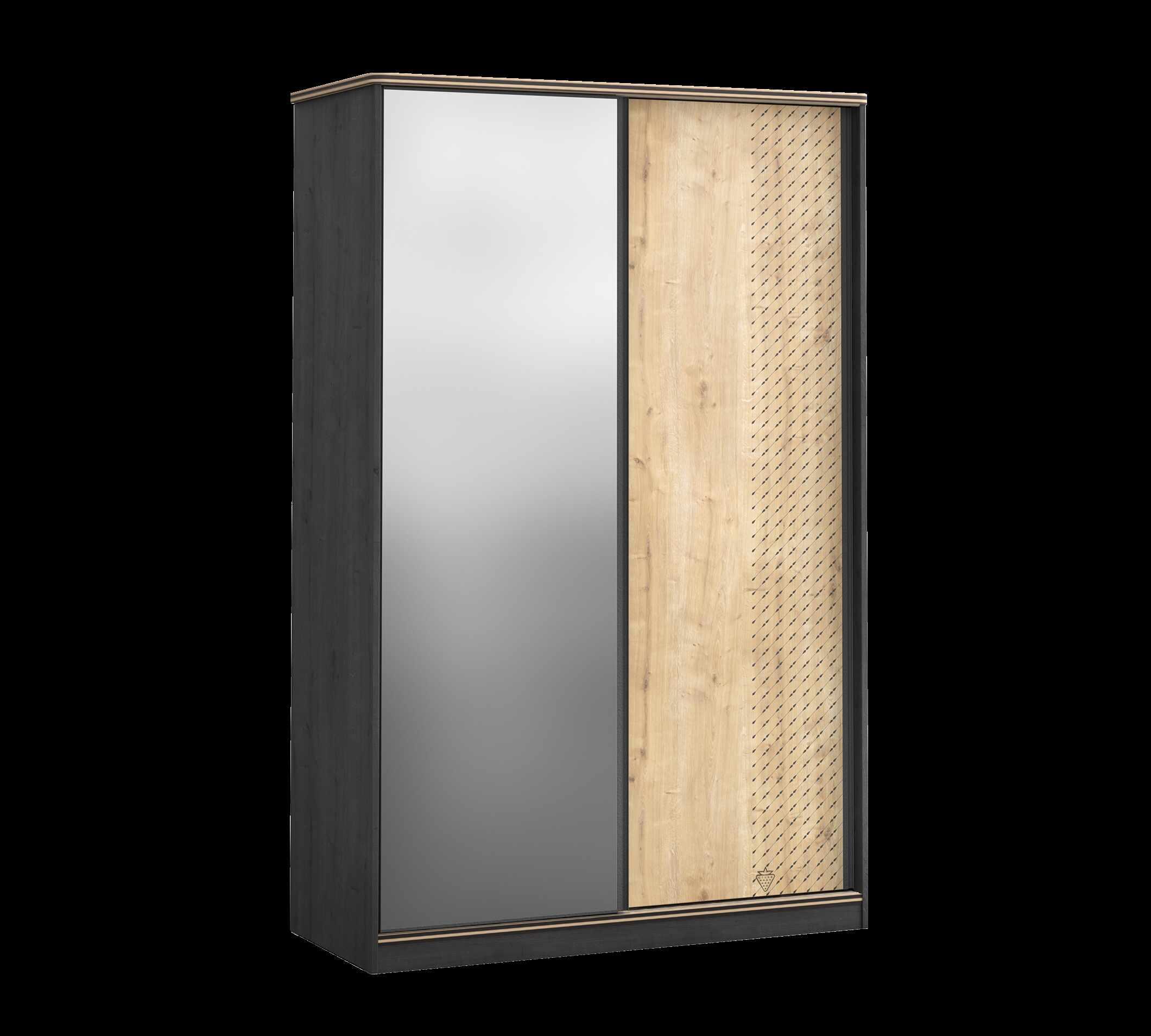 Dulap din pal cu 2 usi glisante si oglinda, pentru tineret Blacky Small Black / Nature, l132xA59xH206 cm la pret 3470 lei