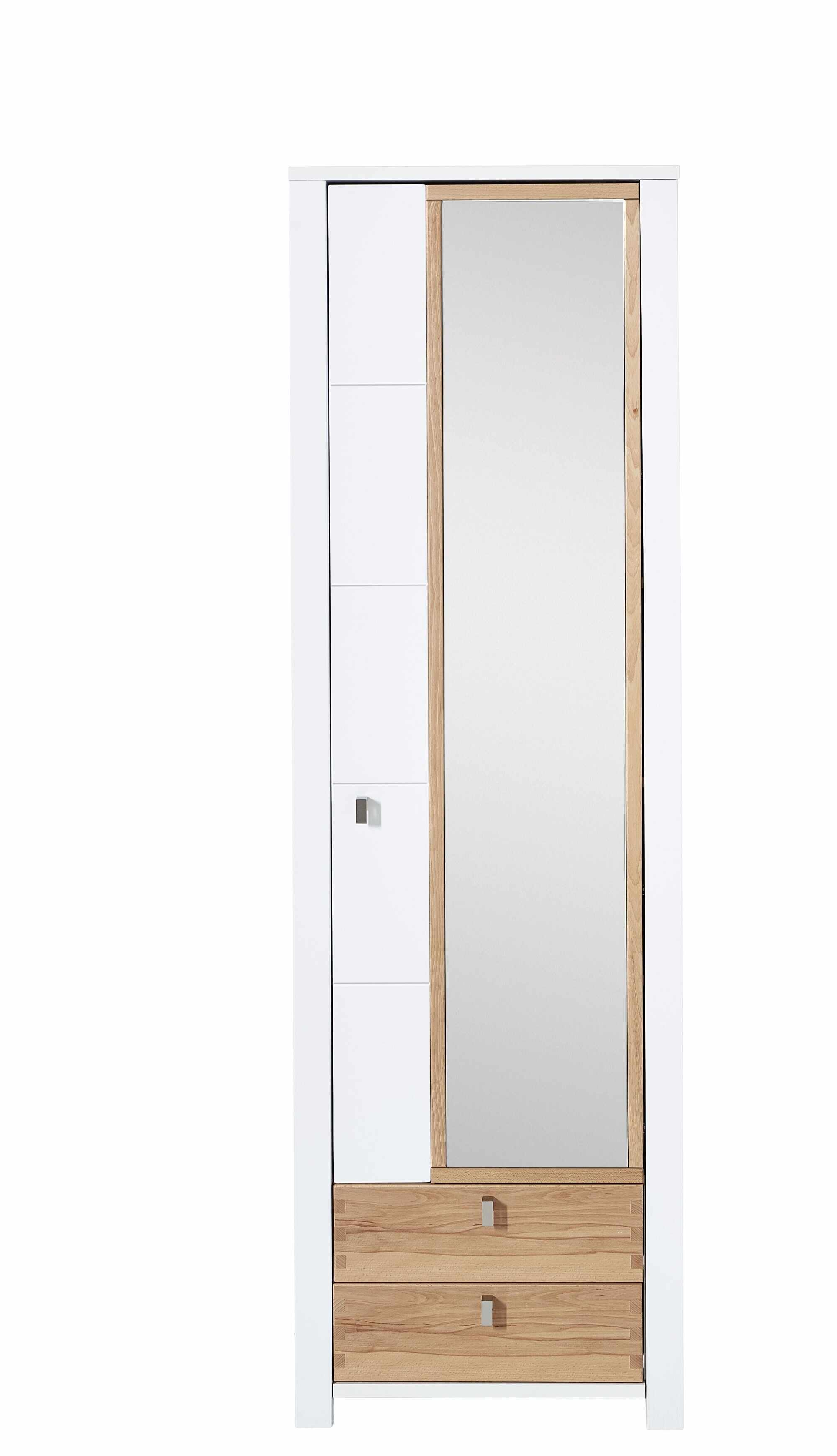Dulap hol cu oglinda din pal si MDF cu 2 sertare si 1 usa, Selina Alb / Natur, l62xA41xH202 cm la pret 2277 lei