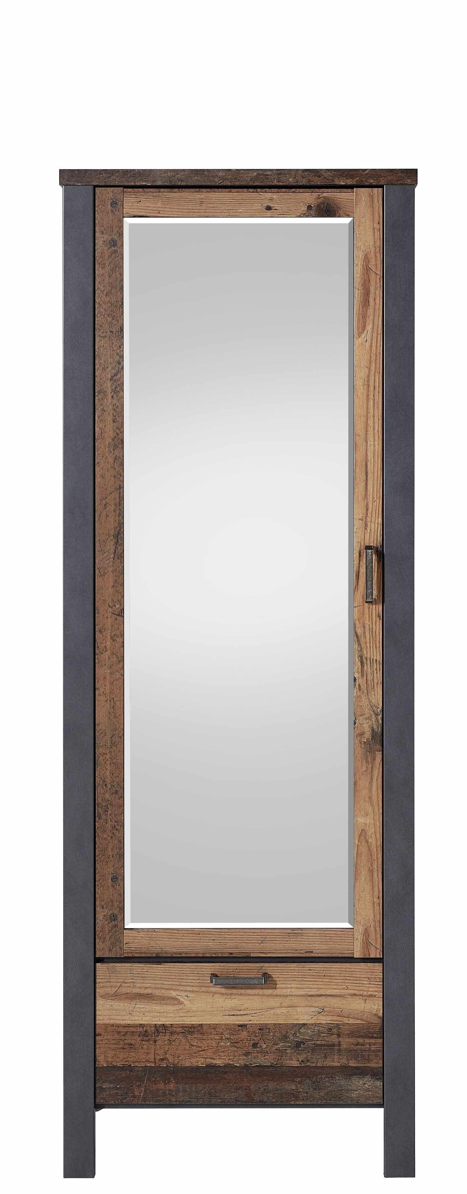 Dulap hol din pal cu oglinda, 1 usa si 1 sertar Chelsea Natural / Grafit, l69xA40xH194 cm la pret 2095 lei