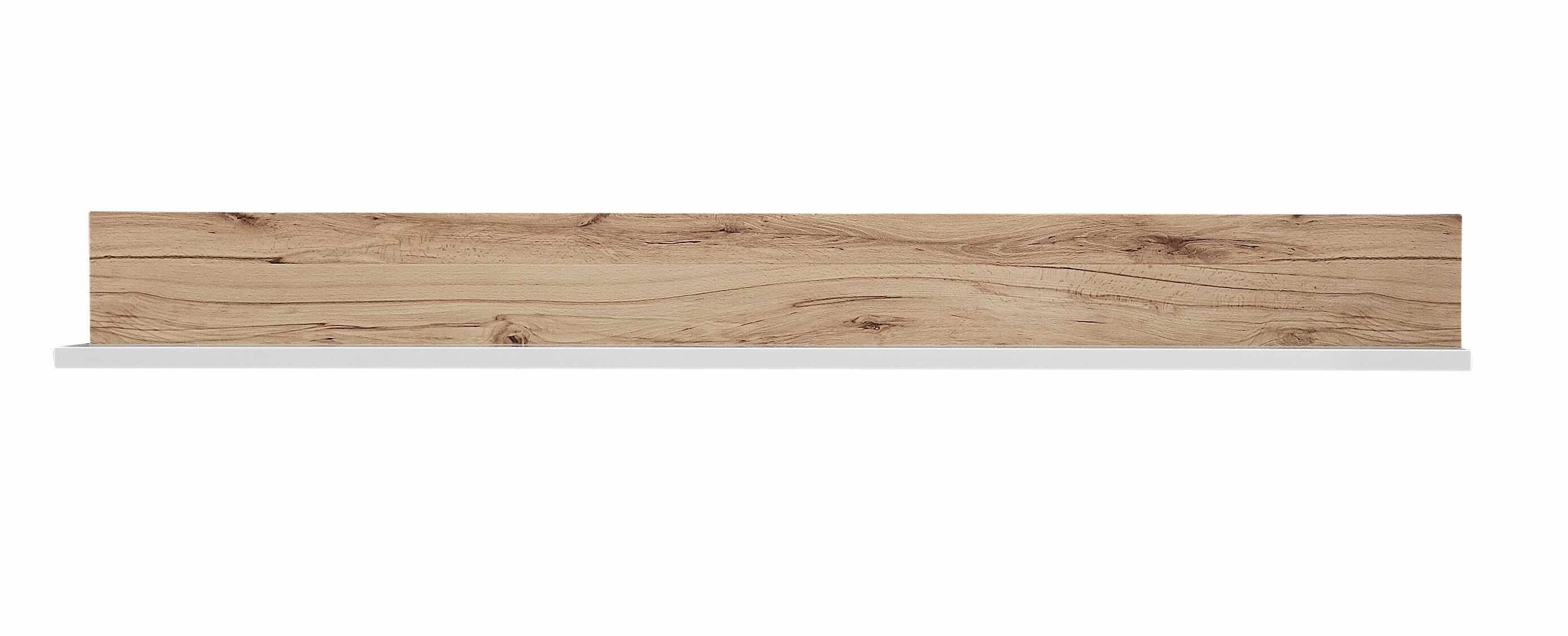 Etajera suspendata din pal si MDF Selina Alb / Natur, l140xA20xH16 cm la pret 350 lei