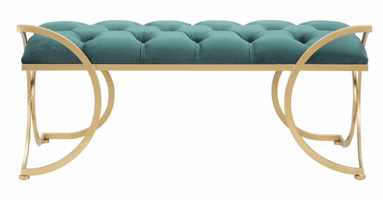 Banca tapitata cu stofa si picioare metalice Luxy Velvet Verde / Auriu, l103xA43xH47 cm la pret 922 lei