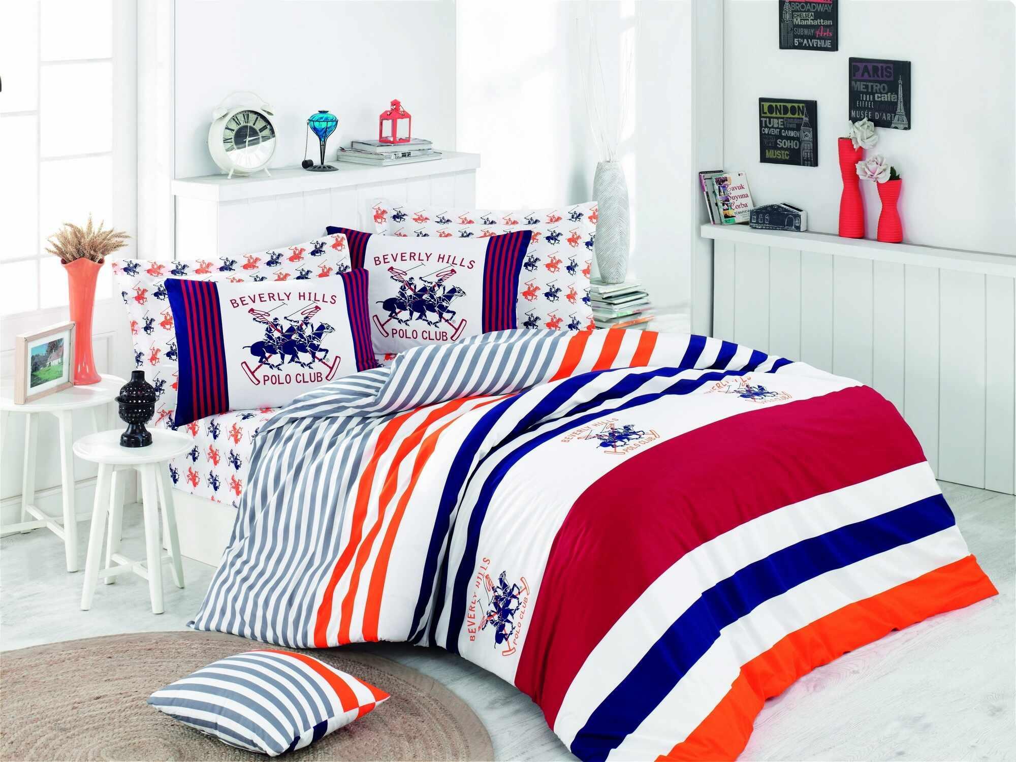 Lenjerie de pat din bumbac Ranforce, Beverly Hills Polo Club BHPC 009 Multicolor, 200 x 220 cm la pret 233 lei
