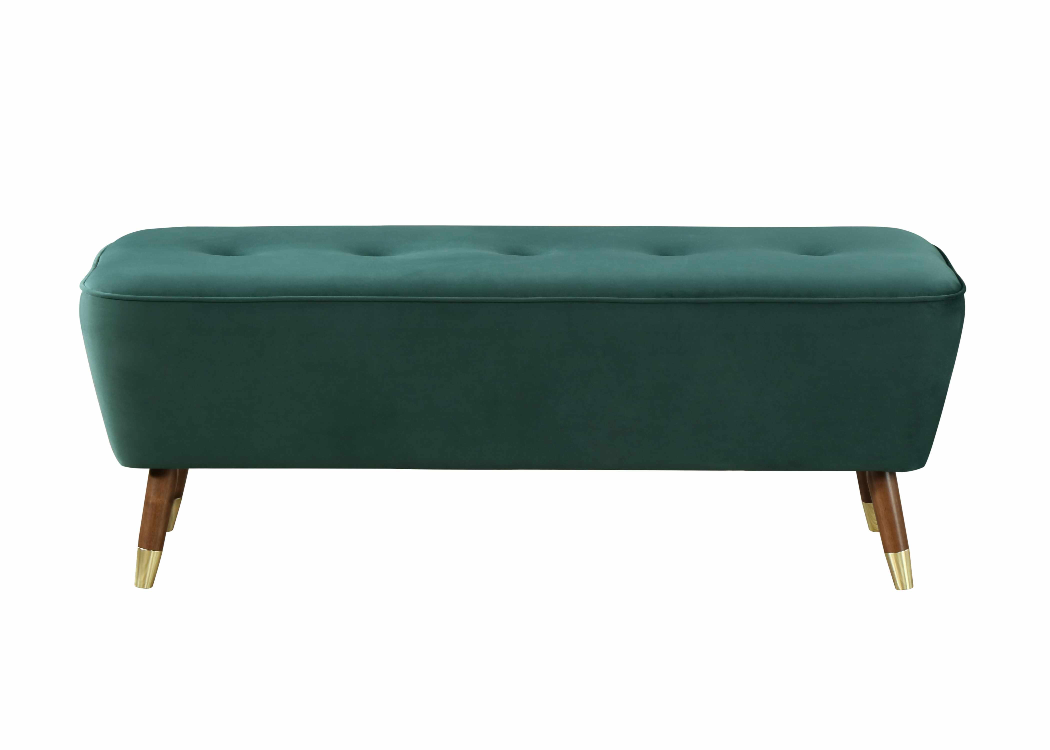 Banca tapitata cu stofa si picioare din lemn Palm Velvet Verde, l125xA47,5xH46,5 cm la pret 856 lei