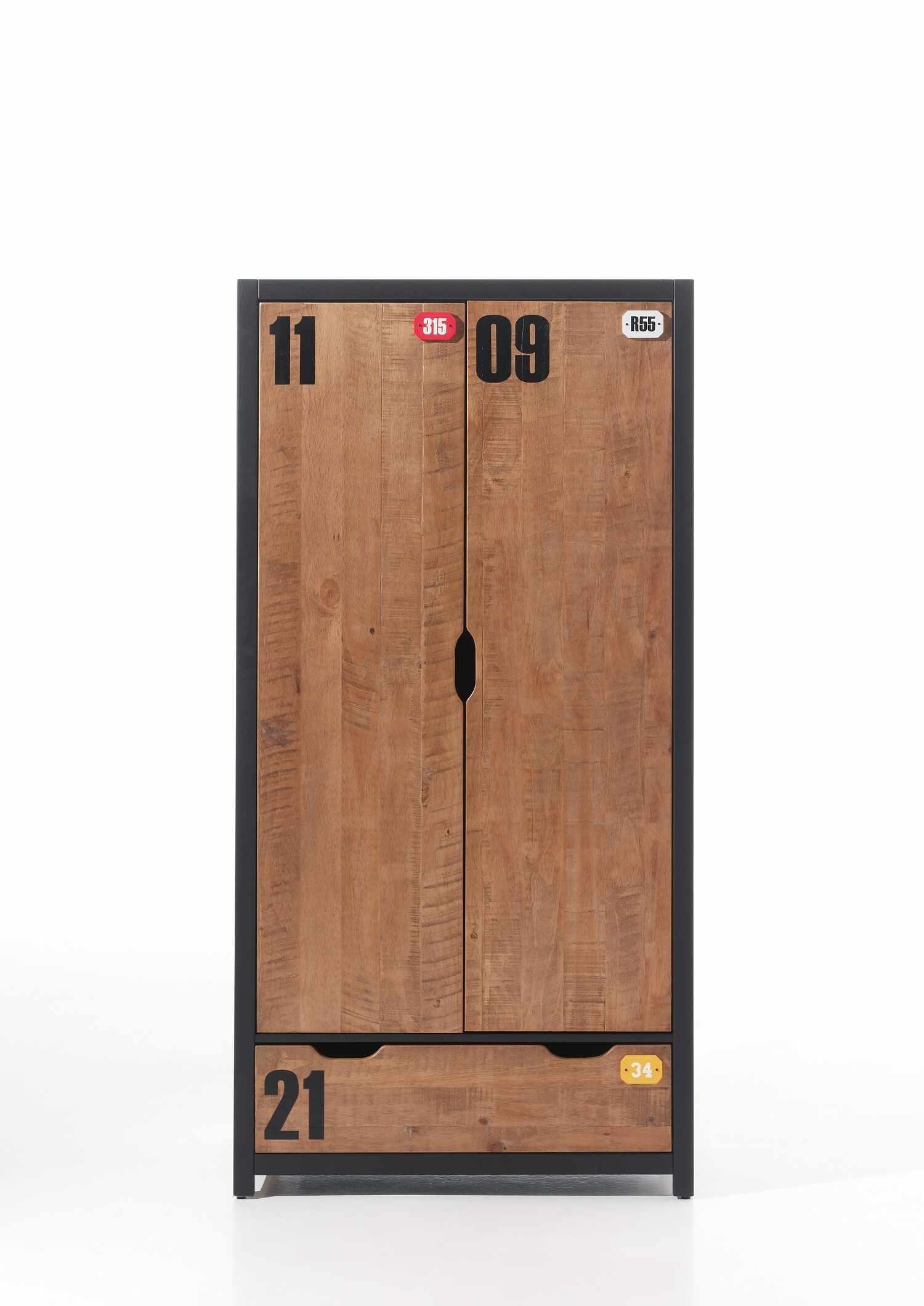 Dulap din lemn de pin si MDF cu 2 usi si 1 sertar, pentru copii Alex Natural / Negru, l100xA55xH200 cm la pret 4260 lei