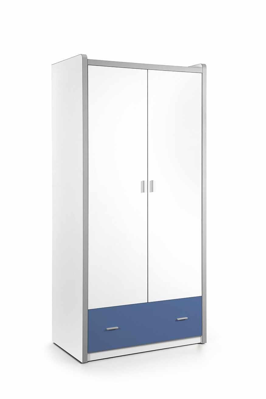 Dulap din pal si metal cu 2 usi si 1 sertar, pentru copii Bonny Alb / Albastru, l96,5xA60xH202 cm la pret 2464 lei