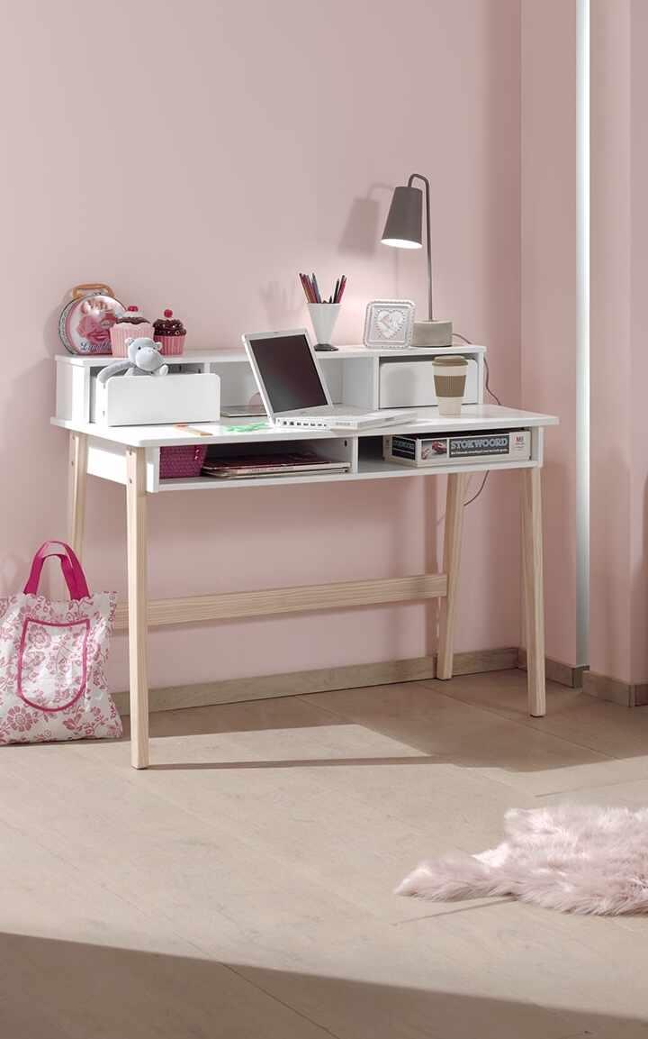 Masa de birou din lemn de pin si MDF cu 2 sertare, pentru copii Kiddy Alb, L110xl60xH90 cm la pret 1421 lei