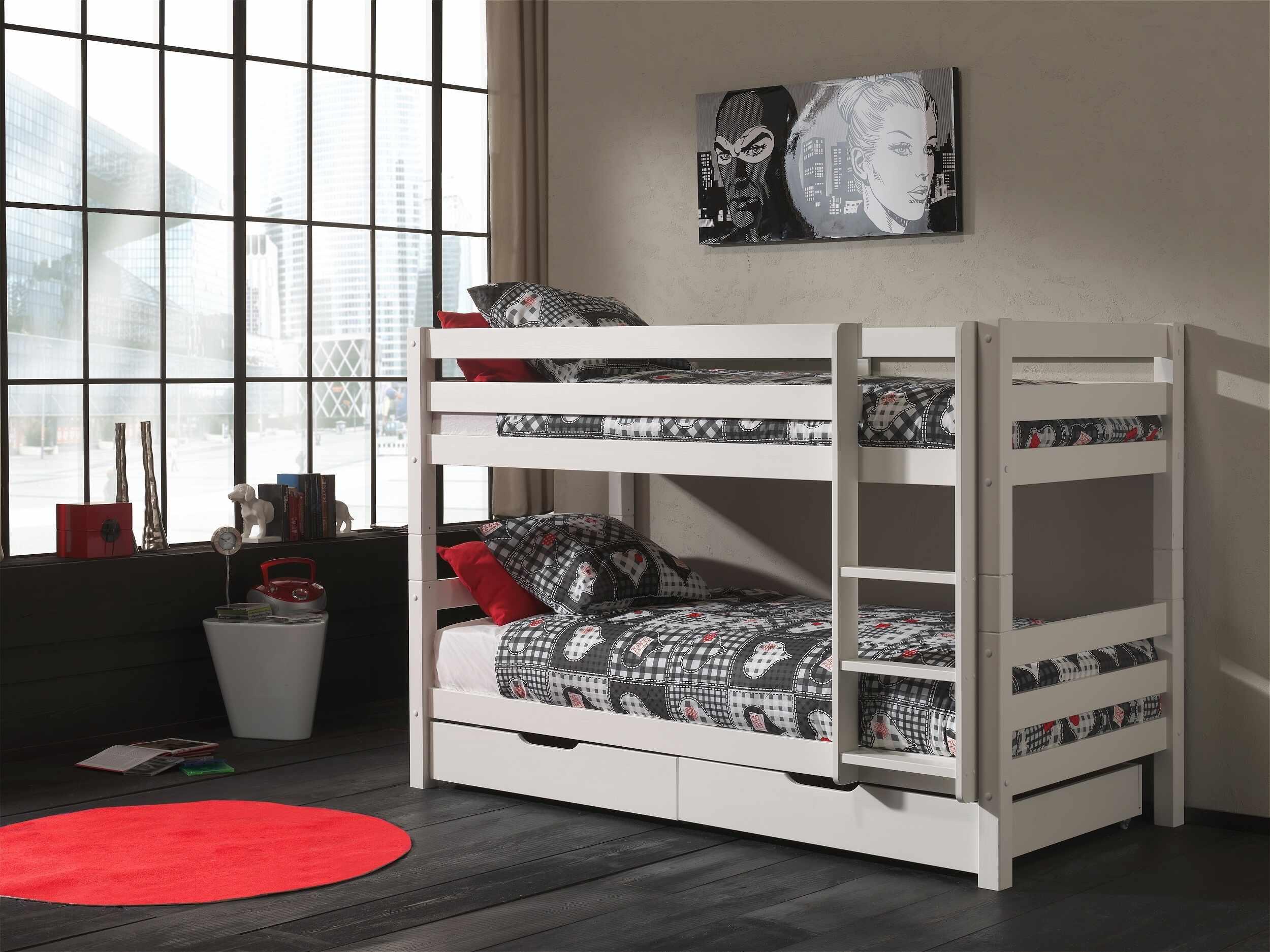 Pat etajat din lemn de pin cu 2 sertare, pentru copii Pino Small Alb, 200 x 90 cm la pret 3297 lei