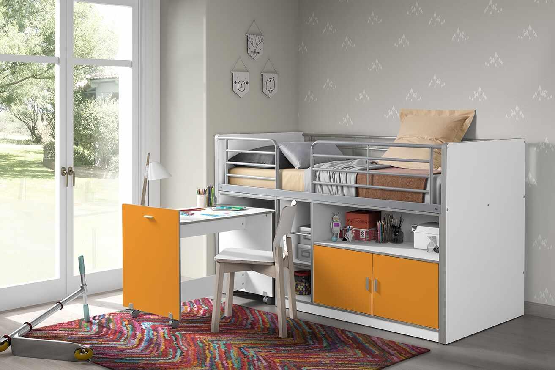 Pat etajat din pal si metal cu birou incorporat si 2 usi, pentru copii Bonny Alb / Portocaliu, 200 x 90 cm la pret 4337 lei