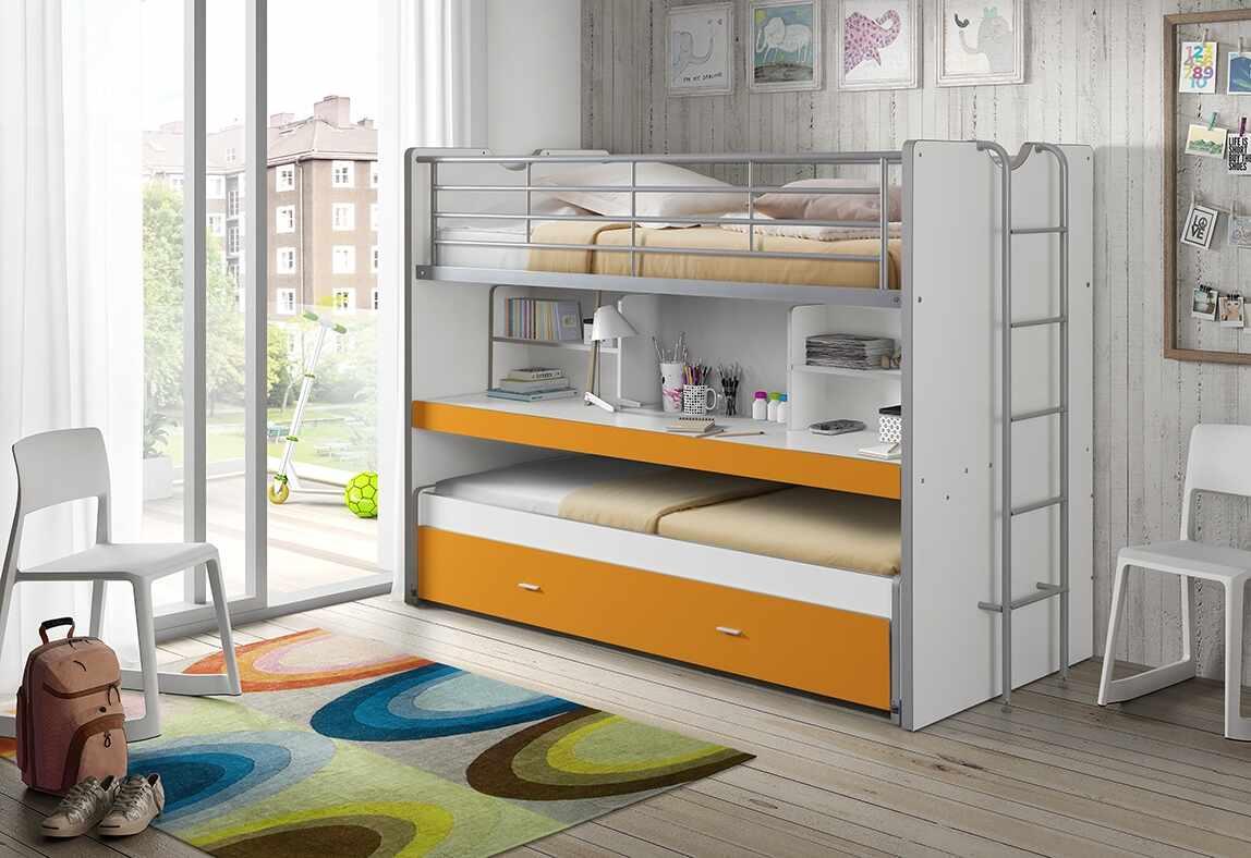 Pat etajat din pal si metal cu birou incorporat si sertar, pentru copii Bonny Alb / Portocaliu, 200 x 90 cm la pret 7330 lei