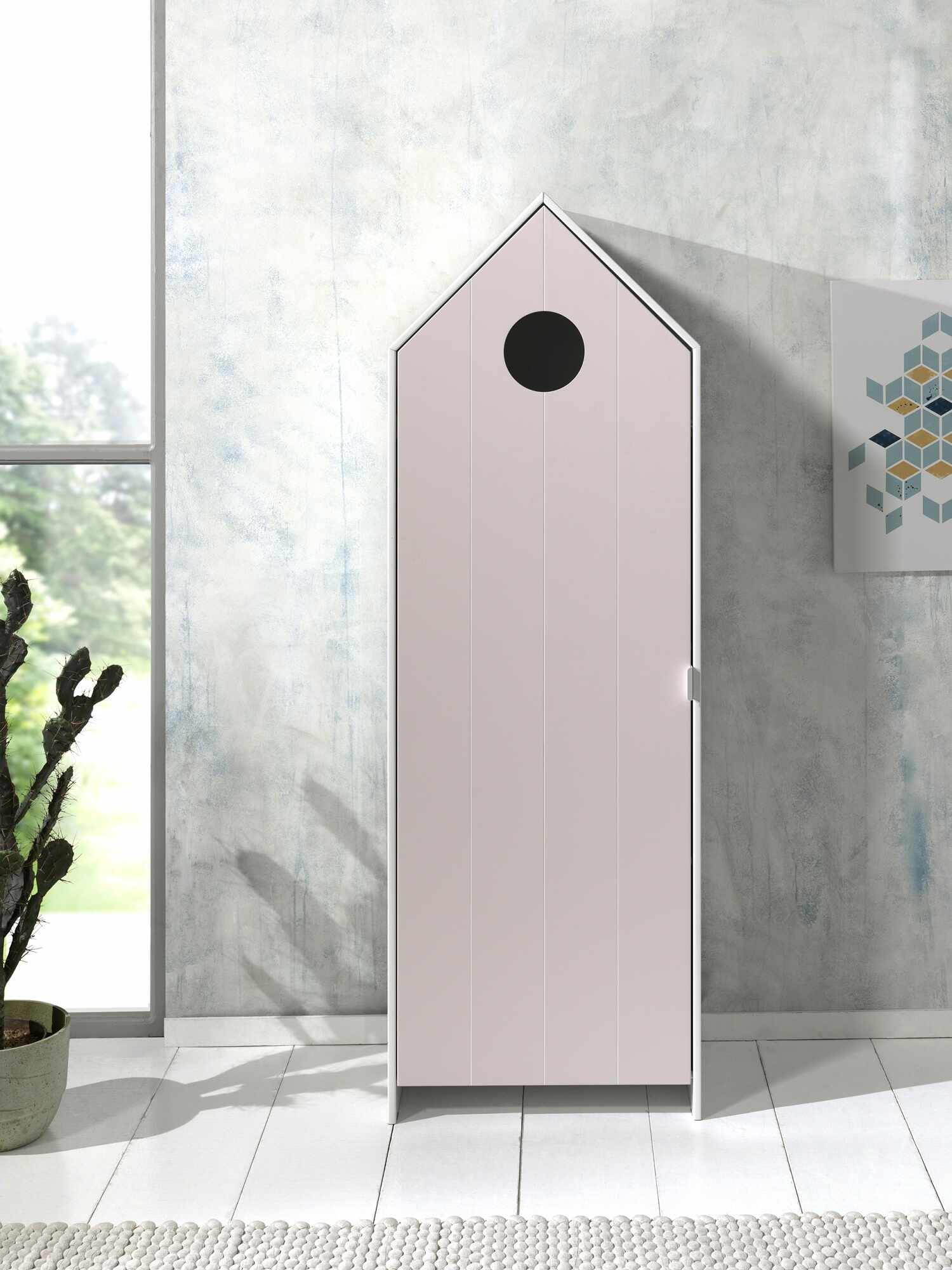 Dulap tip casuta din MDF, cu 1 usa pentru copii Casami Roz / Alb, l57,6xA37xH171,3 cm la pret 1105 lei
