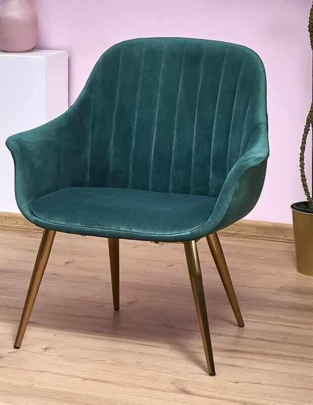 Fotoliu fix tapitat cu stofa si picioare metalice Elegance 2 Verde inchis / Auriu, l72xA60xH79 cm la pret 677 lei