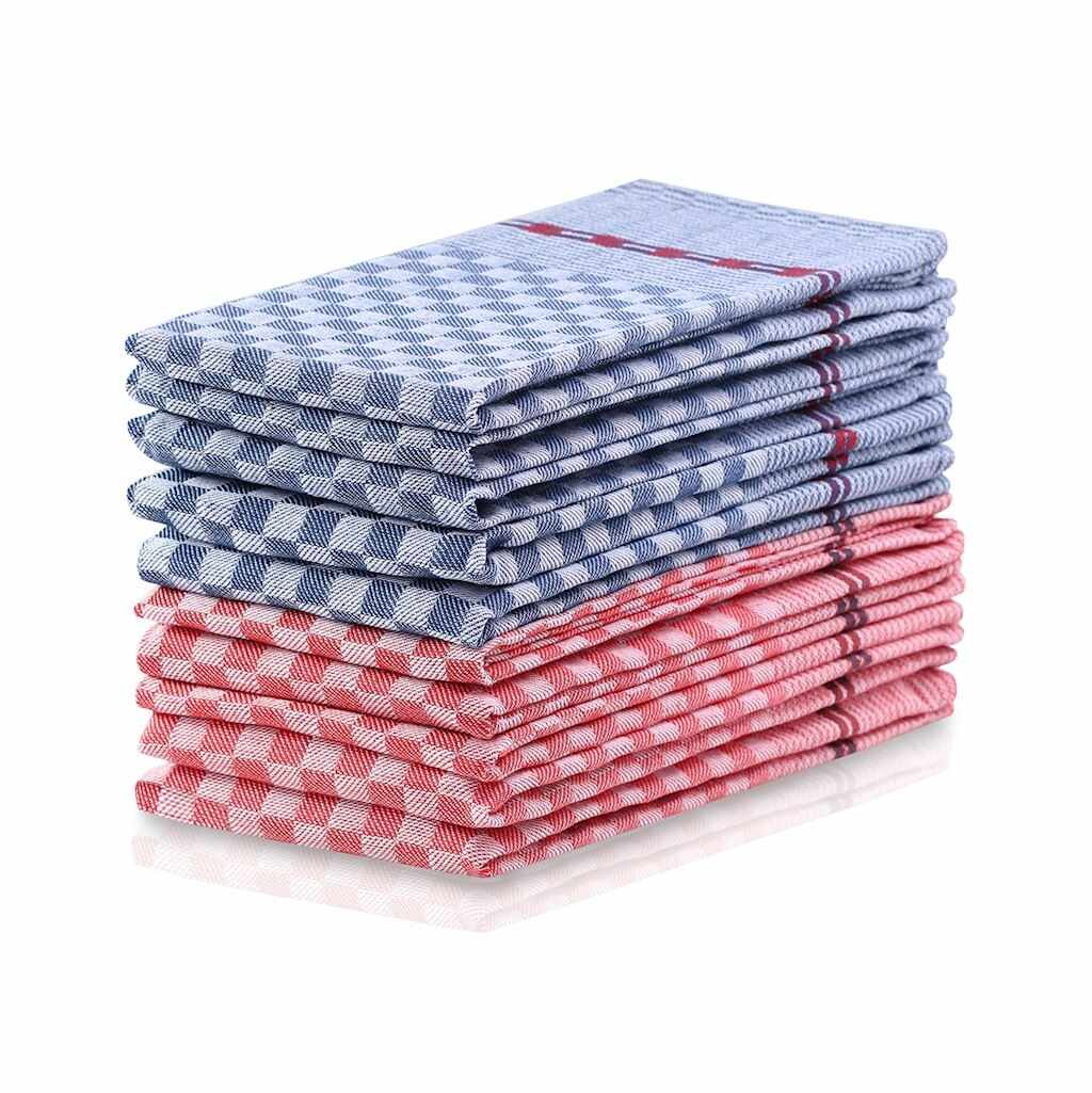 Set 10 prosoape de bucatarie Louie II Rosu / Albastru, 50 x 70 cm la pret 164 lei