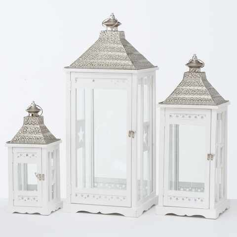 Set 3 felinare decorative din lemn Kubino Alb, L32xl32xH81 cm / L25xl25xH65 cm / L18xl18xH45 cm la pret 698 lei