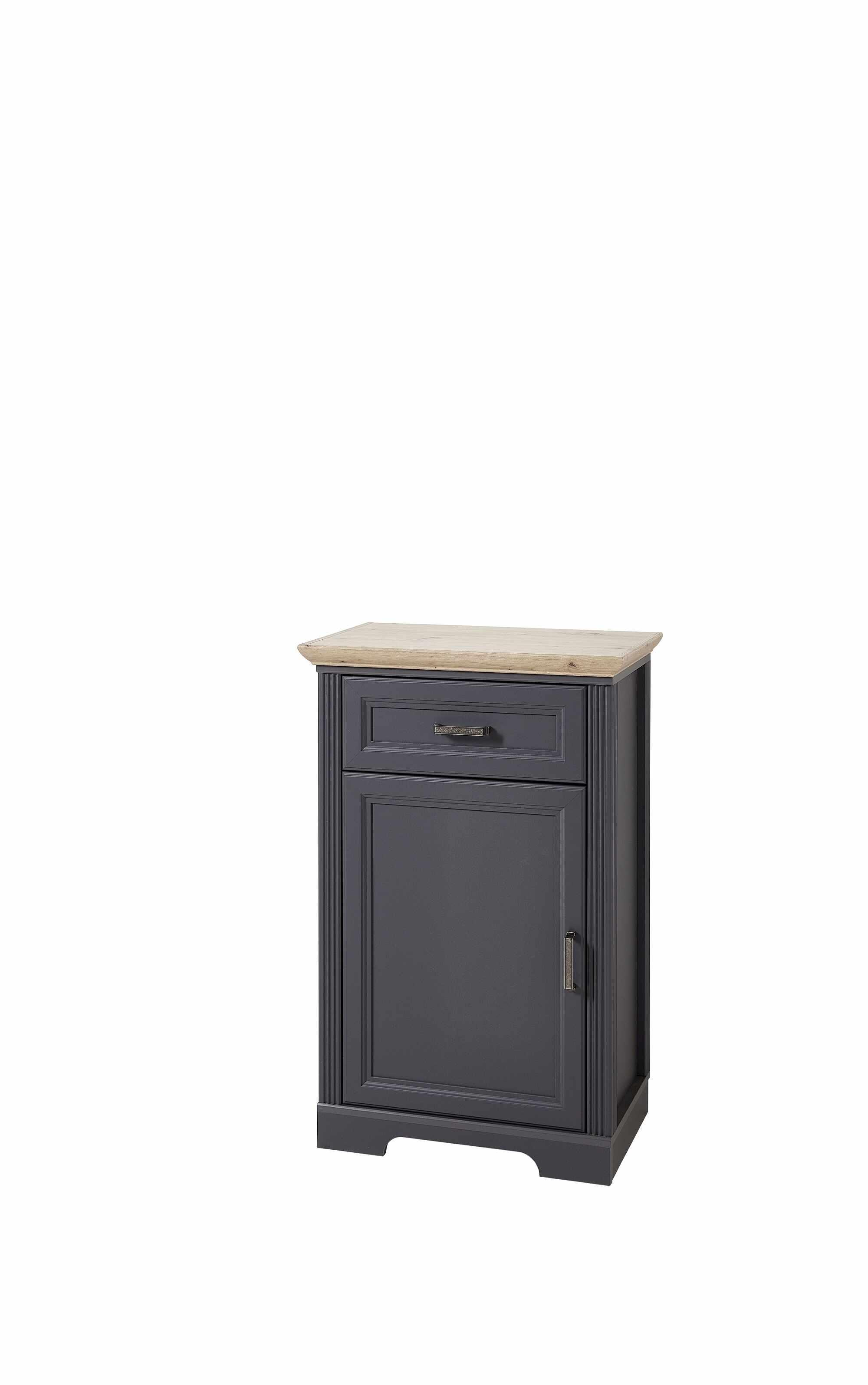 Cabinet hol din MDF, cu 1 usa si 1 sertar, Jessie Grafit, l65xA41xH102 cm la pret 1198 lei