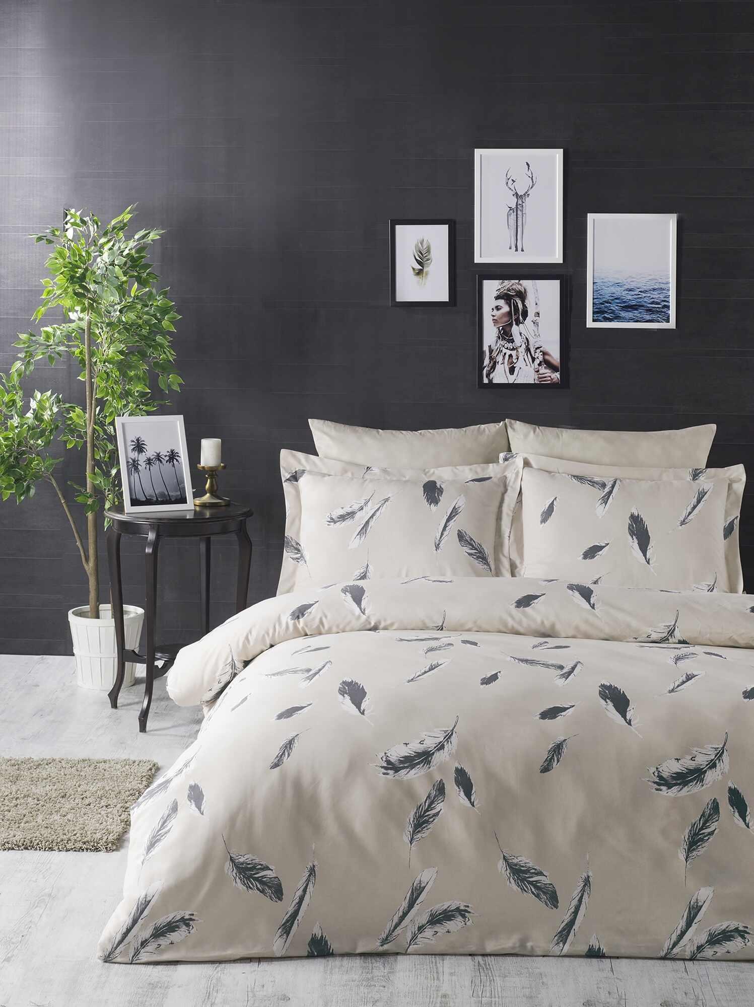 Lenjerie de pat din bumbac Ranforce, Feather Crem / Gri, 200 x 220 cm la pret 206 lei