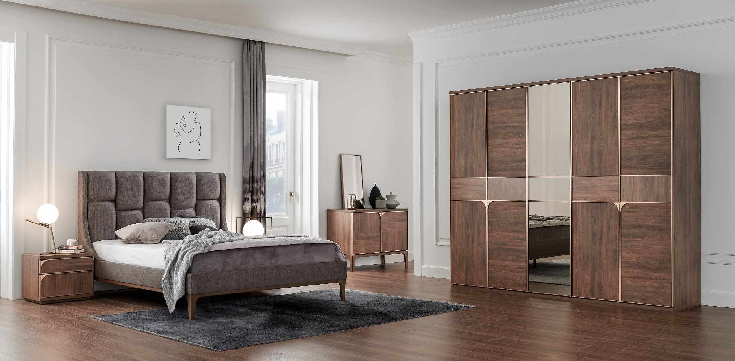 Set Mobila Dormitor din pal, cu pat 200 x 180 cm, 6 piese Gold Nuc la pret 13141 lei