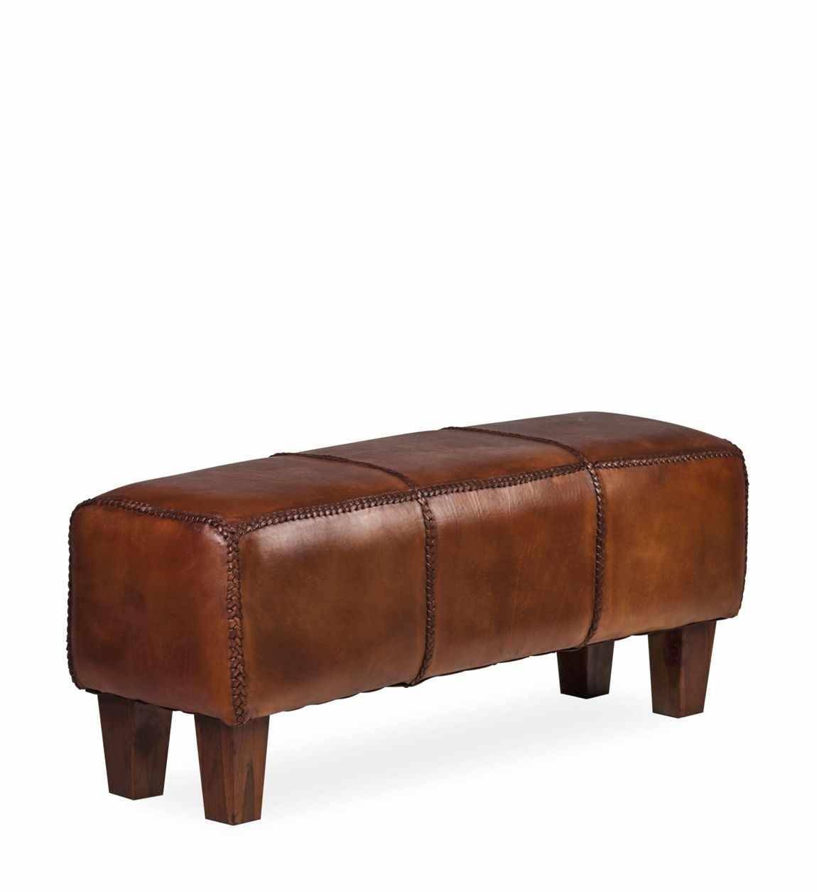 Banca tapitata cu piele naturala si picioare din lemn, Braid Maro Inchis, l110xA35xH45 cm la pret 1150 lei