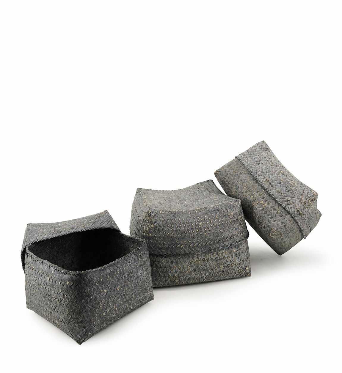Set 3 cosuri pentru depozitare Bamboo Square Gri, Ø30xH18 cm / Ø26xH16 cm / Ø23xH15 cm la pret 186 lei