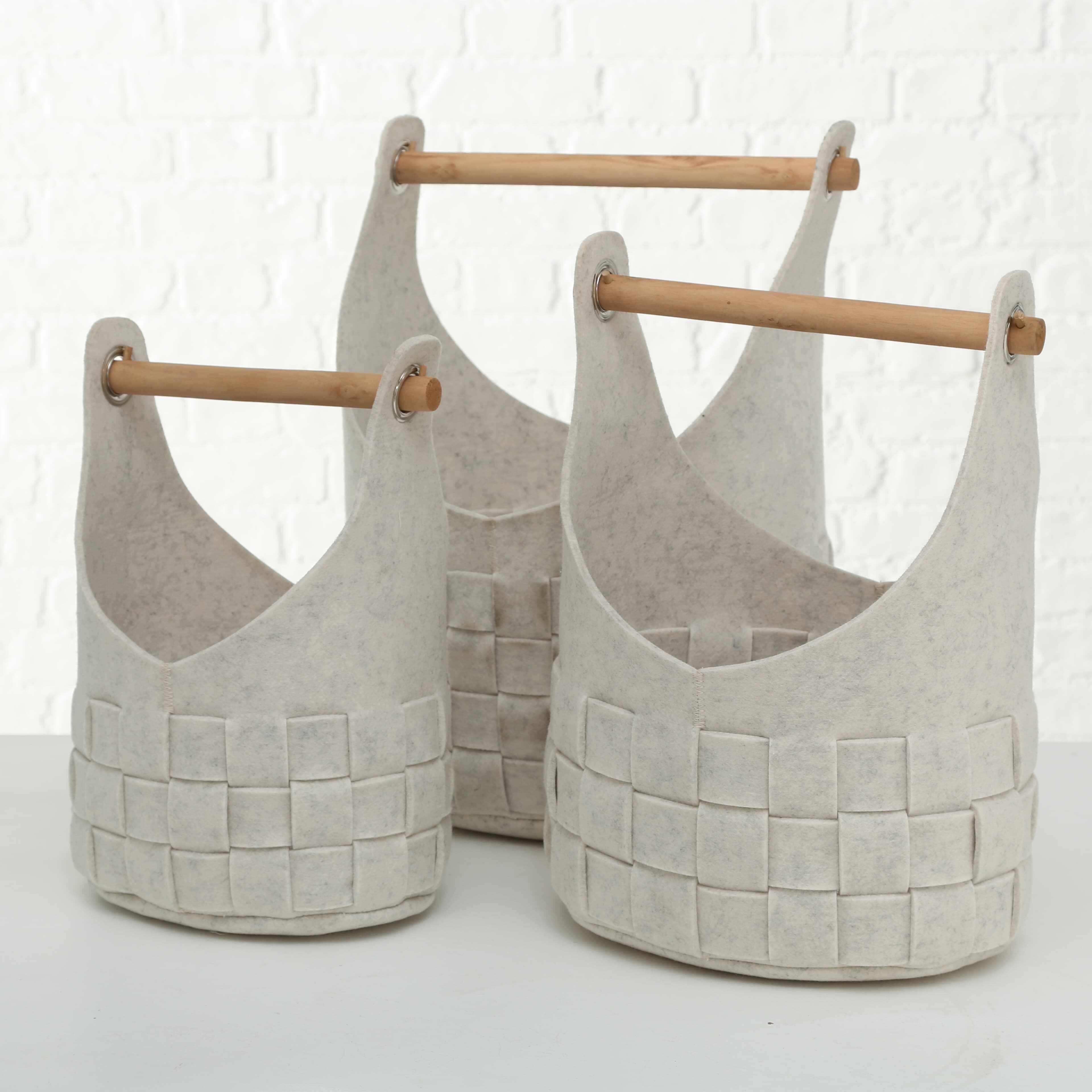 Set 3 cosuri pentru depozitare din pasla Basket Cui Bej, L35xl27xH50 cm / L30xl24xH45 cm / L25xl18xH39 cm la pret 266 lei