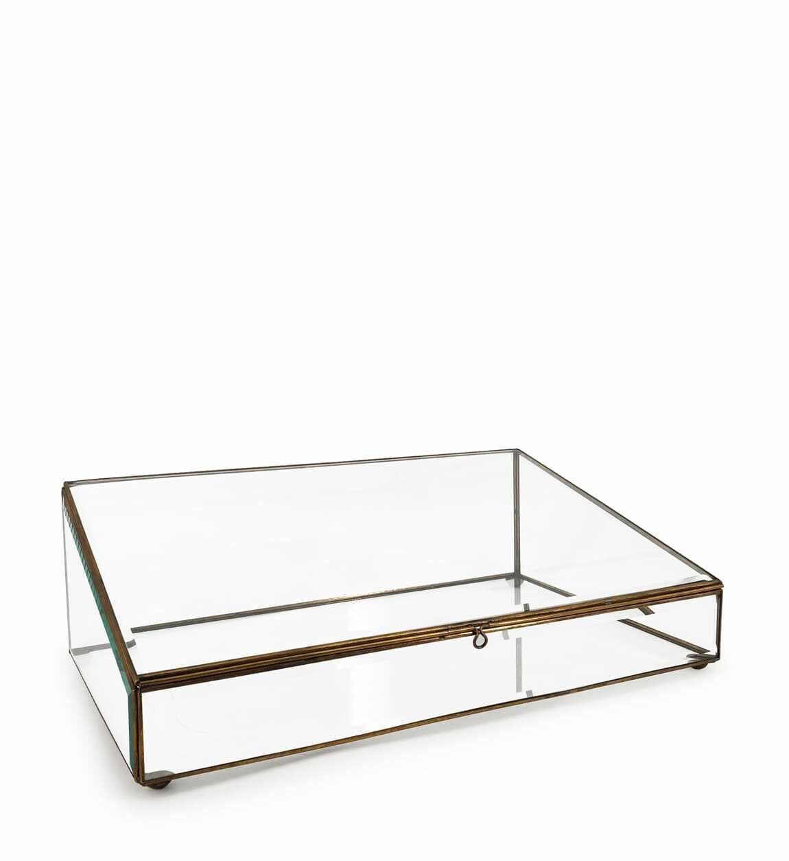 Cutie pentru depozitare din sticla si metal Box Trapeze, L45xl28xH14 cm la pret 278 lei