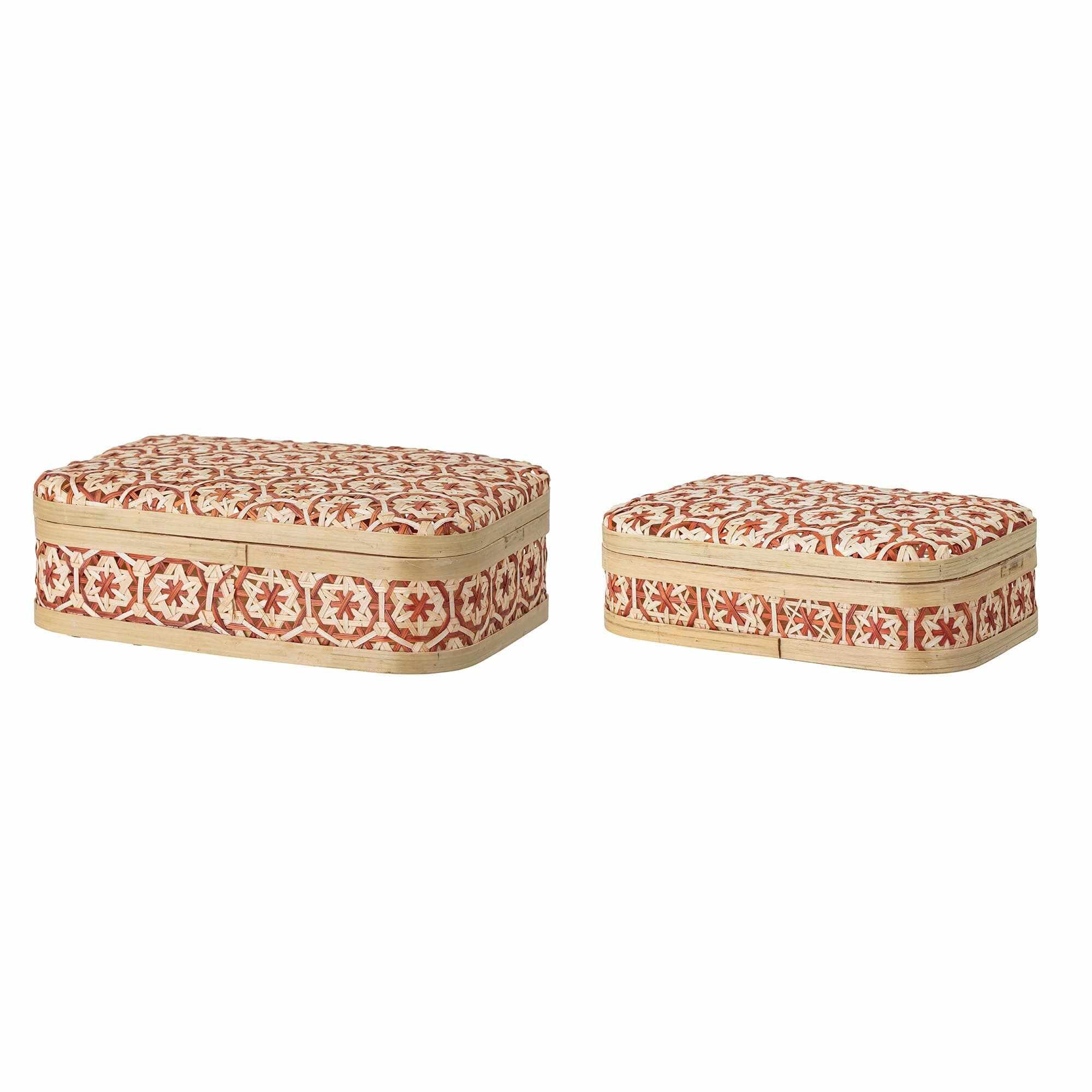 Set 2 cutii pentru depozitare cu capac din bambus, Dy Natural / Rosu, l26xA16xH7 cm / l30xA21xH9 cm la pret 407 lei