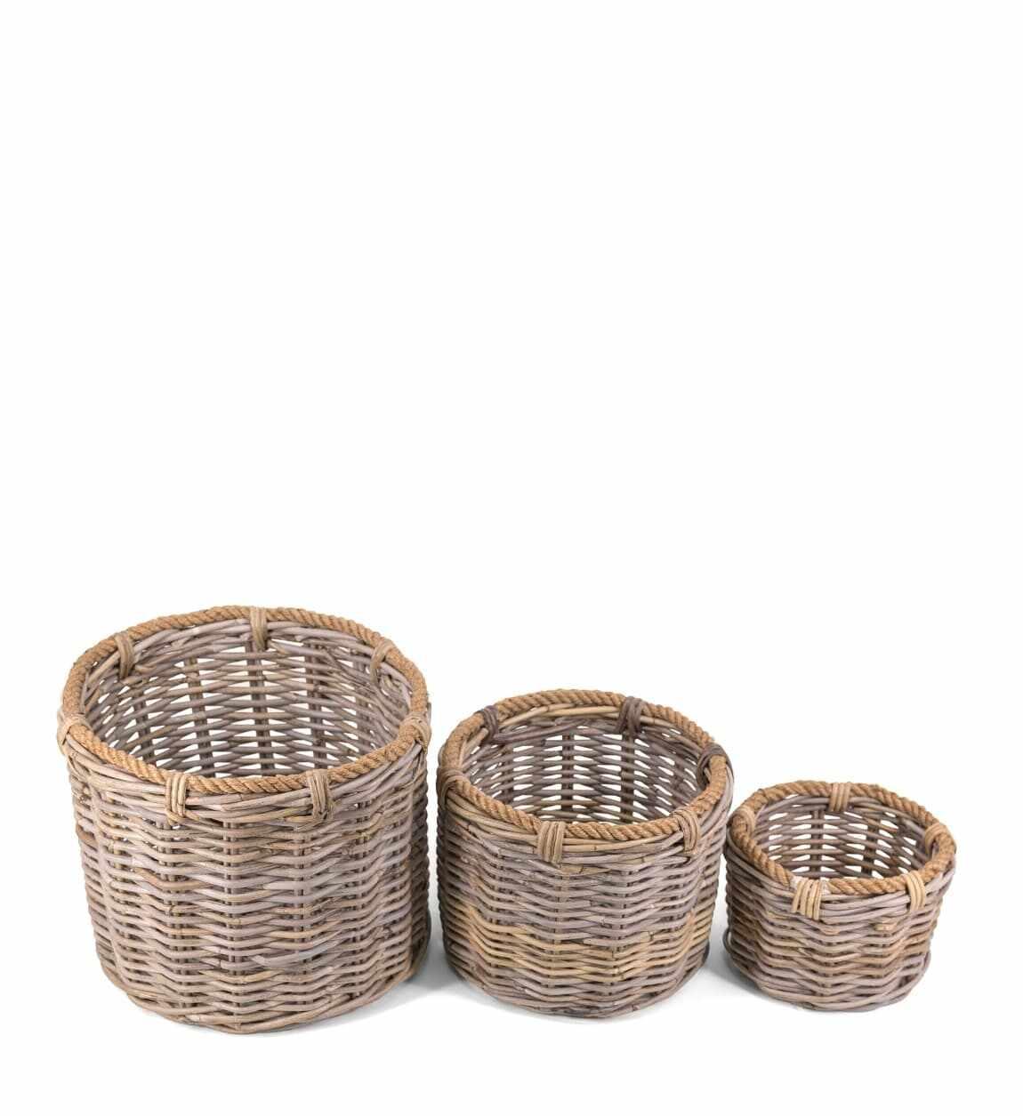Set 3 cosuri pentru depozitare, din ratan Basketry Natural, Ø40xH32 cm / Ø32xH25 cm / Ø22xH18 cm la pret 354 lei