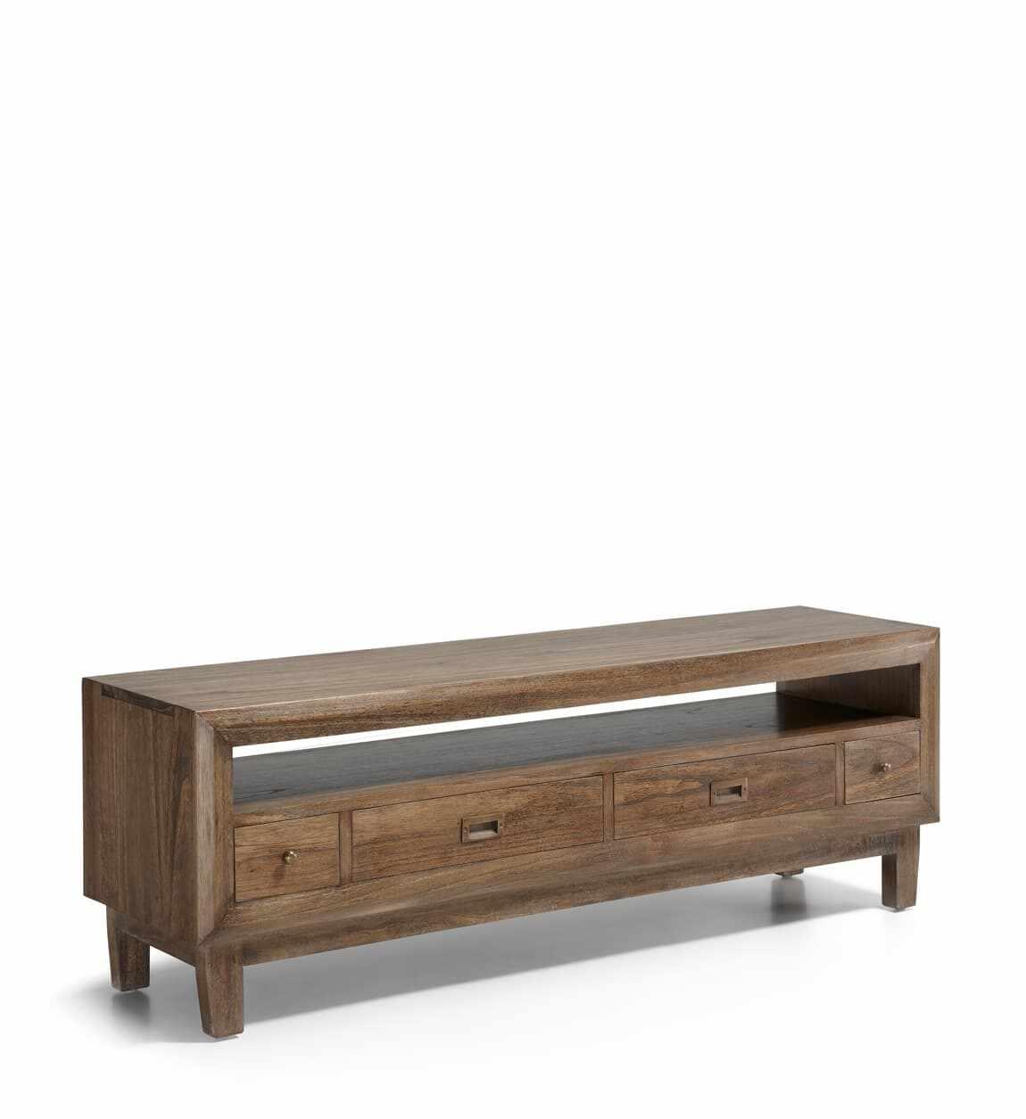 Comoda TV din lemn cu 4 sertare, Sindor Natur, l150xA40xH50 cm la pret 2409 lei