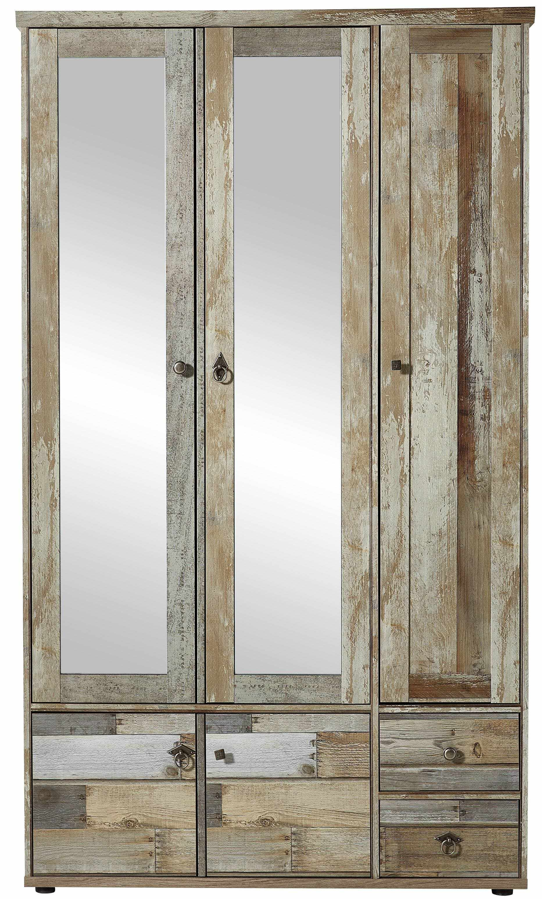 Dulap hol din pal cu oglinda, 5 usi si 2 sertare Bazna Natur / Gri inchis, l109xA40xH188 cm la pret 2477 lei