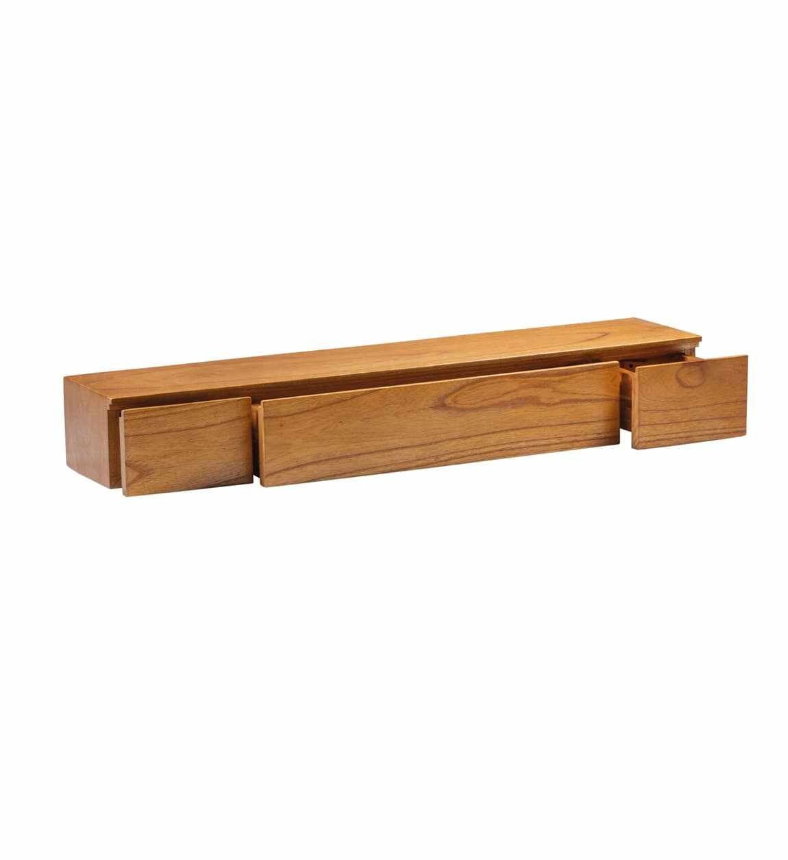 Etajera suspendata din lemn cu 3 sertare, Madhu Natural, l100xA20xH14 cm la pret 600 lei