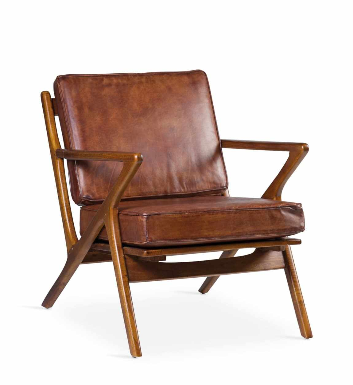 Fotoliu fix din lemn si perne detasabile tapitate cu piele, Cushion Maro, l65xA70xH75 cm la pret 1480 lei
