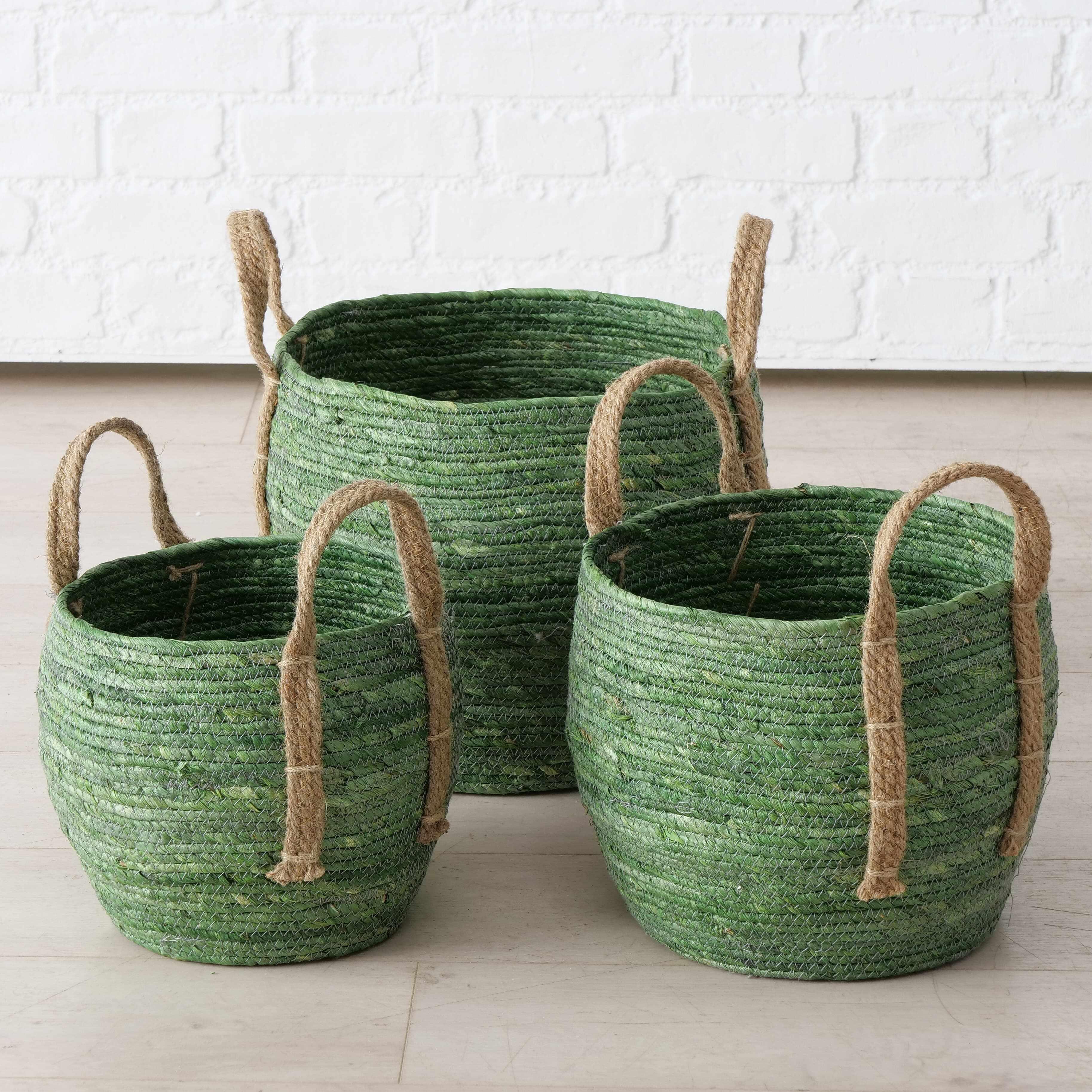 Set 3 cosuri pentru depozitare, din frunze de porumb si iuta Takeo Verde / Natural, Ø33xH30 cm / Ø28xH26 cm / Ø23xH22 cm la pret 252 lei