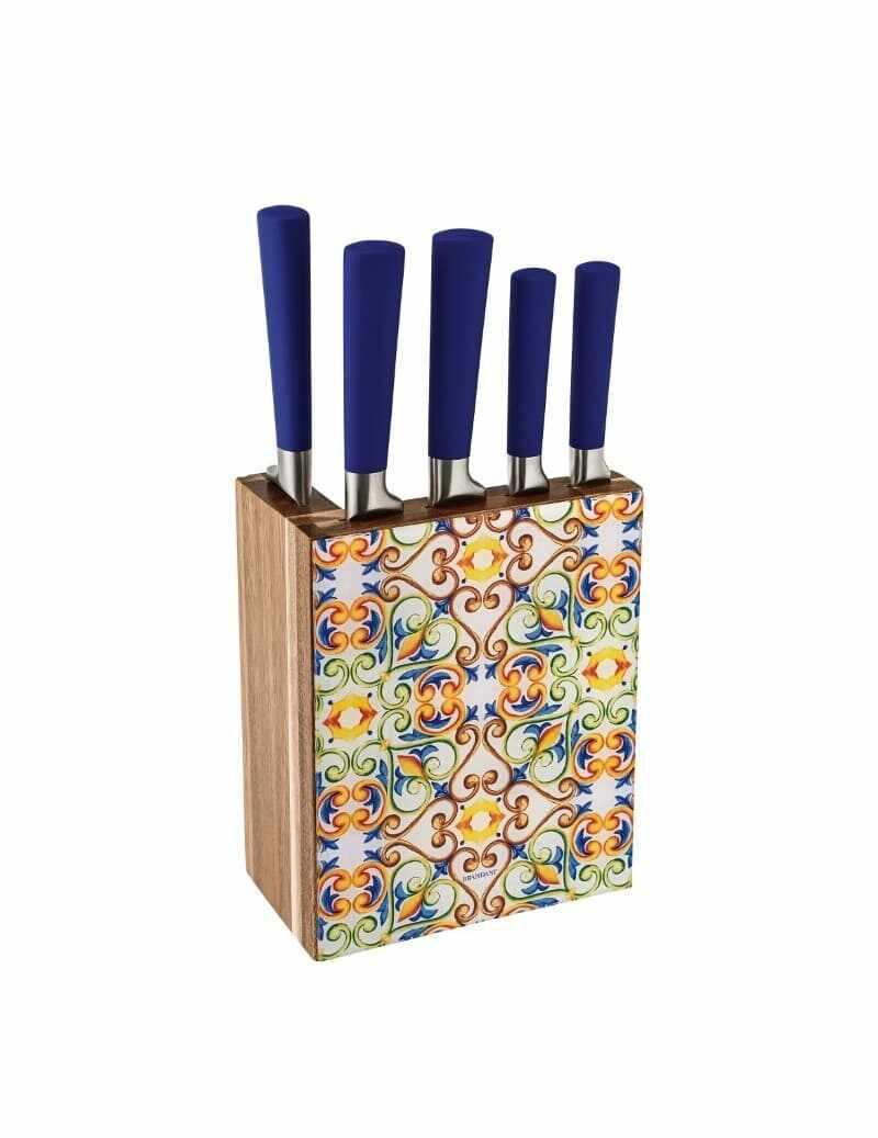 Set 5 cutite din otel inoxidabil cu suport, Medicea Multicolor la pret 324 lei