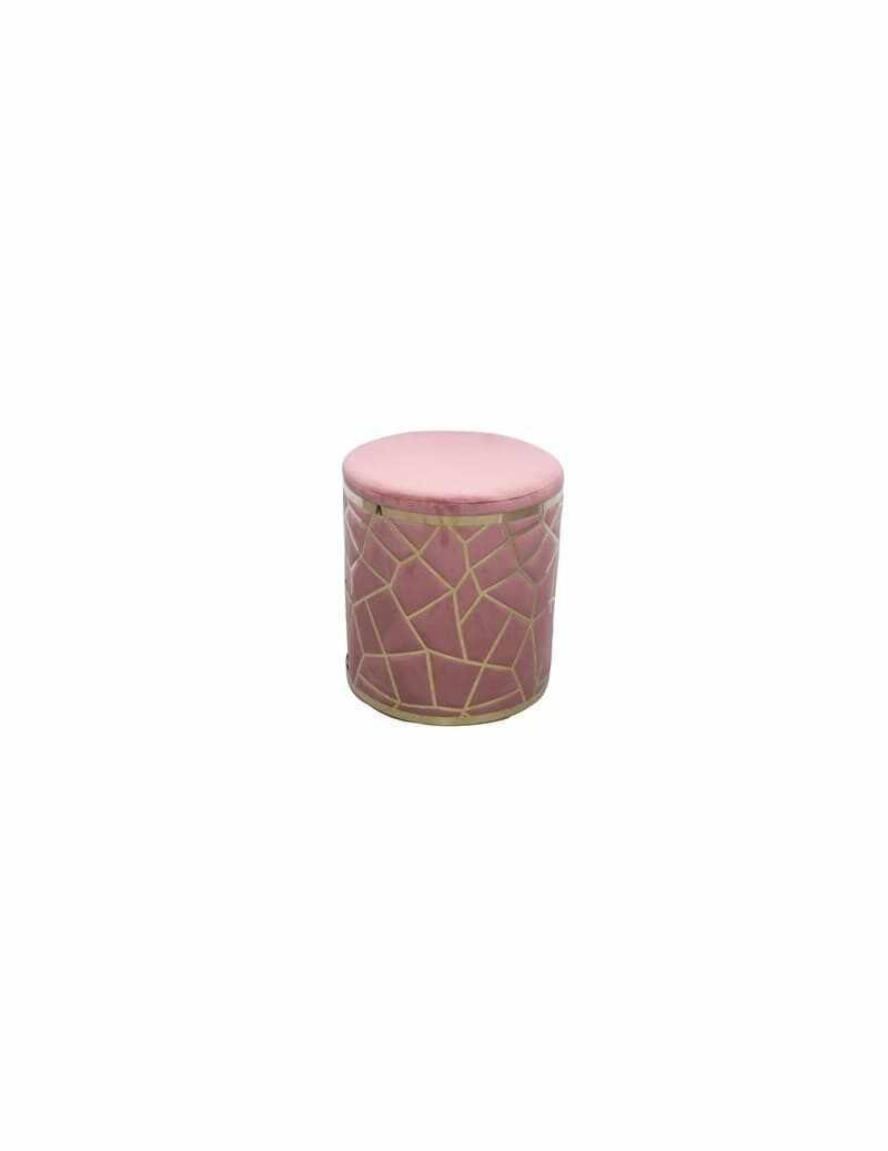 Taburet tapitat cu stofa Cipria Velvet Roz / Auriu, Ø35xH37 cm la pret 503 lei