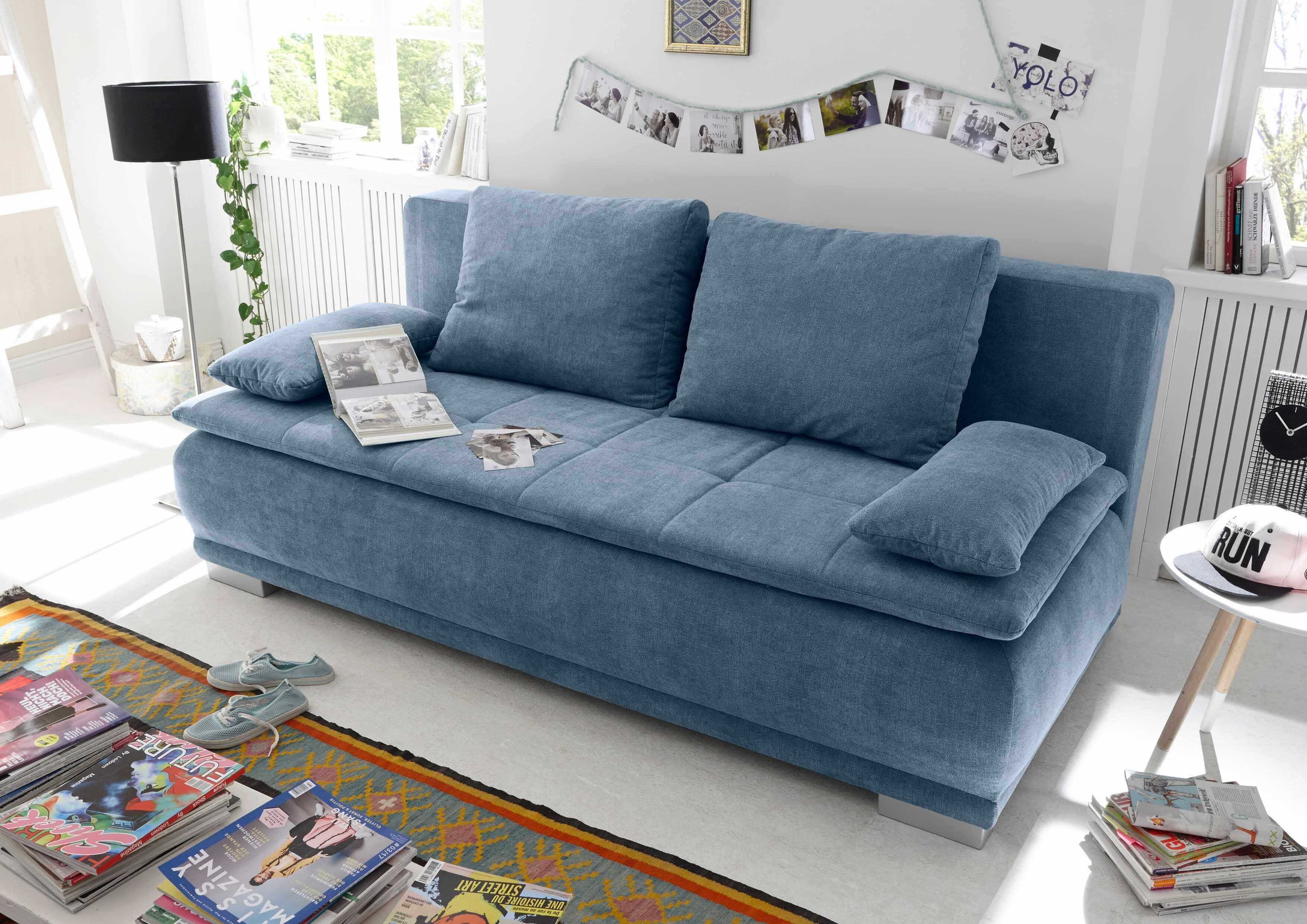 Canapea extensibila cu lada de depozitare, tapitata cu stofa, 3 locuri, Lois Albastru, l211xA103xH93 cm la pret 3145 lei