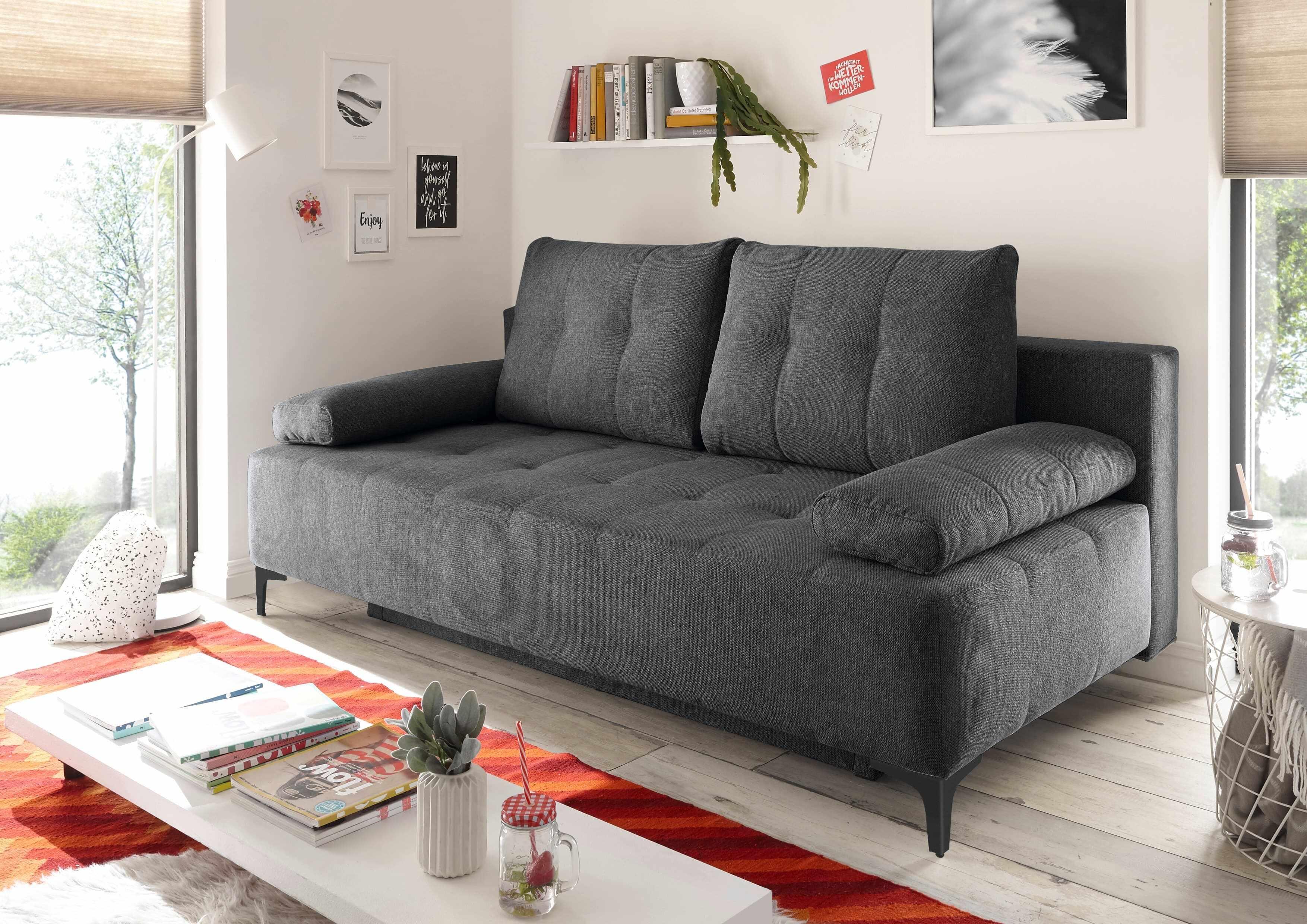 Canapea extensibila cu lada de depozitare, tapitata cu stofa, 3 locuri, Molly Antracit, l203xA107xH98 cm la pret 3069 lei
