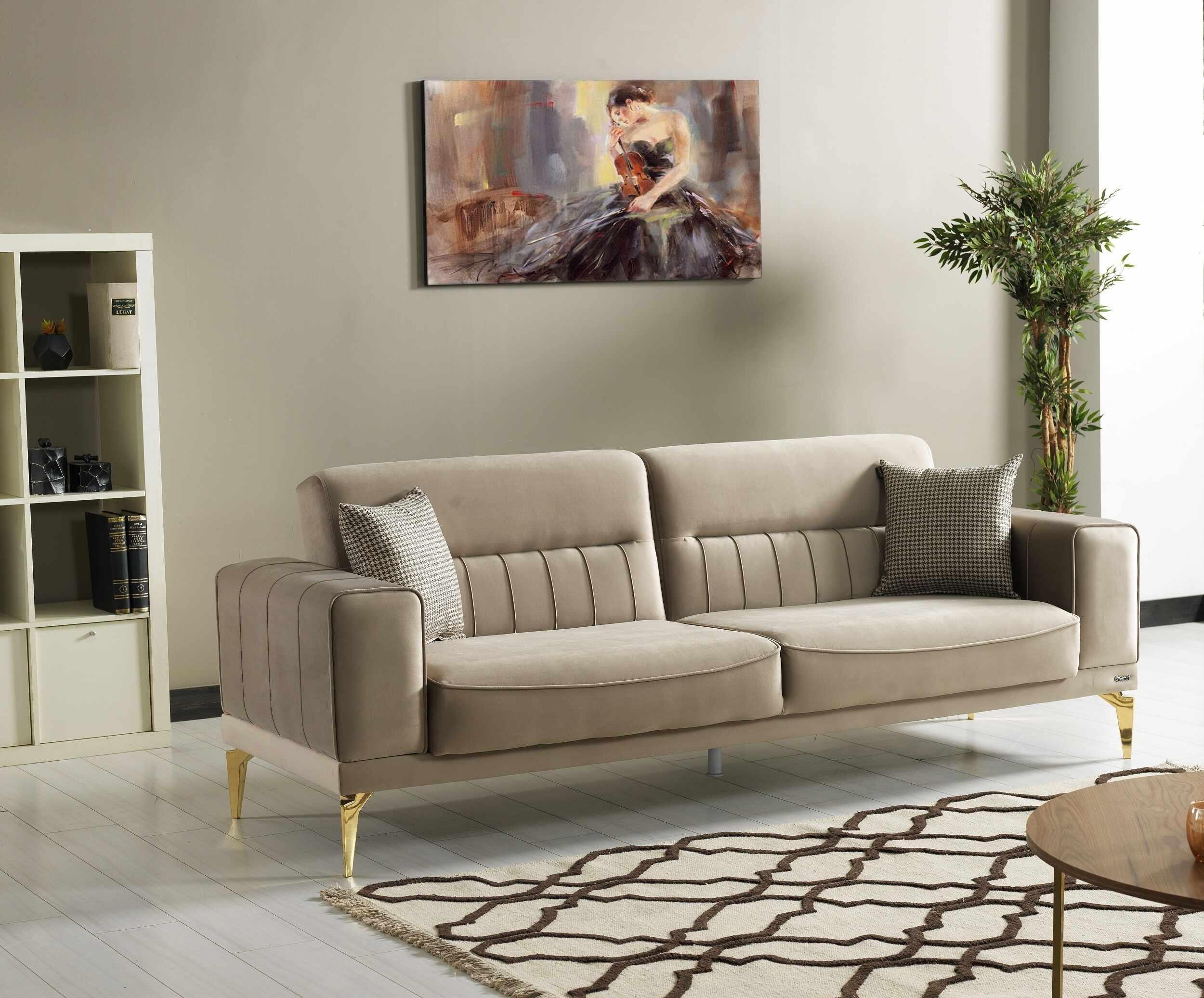 Canapea extensibila tapitata cu stofa, 3 locuri Nancy Velvet Bej / Auriu, l237xA88xH87 cm la pret 2792 lei
