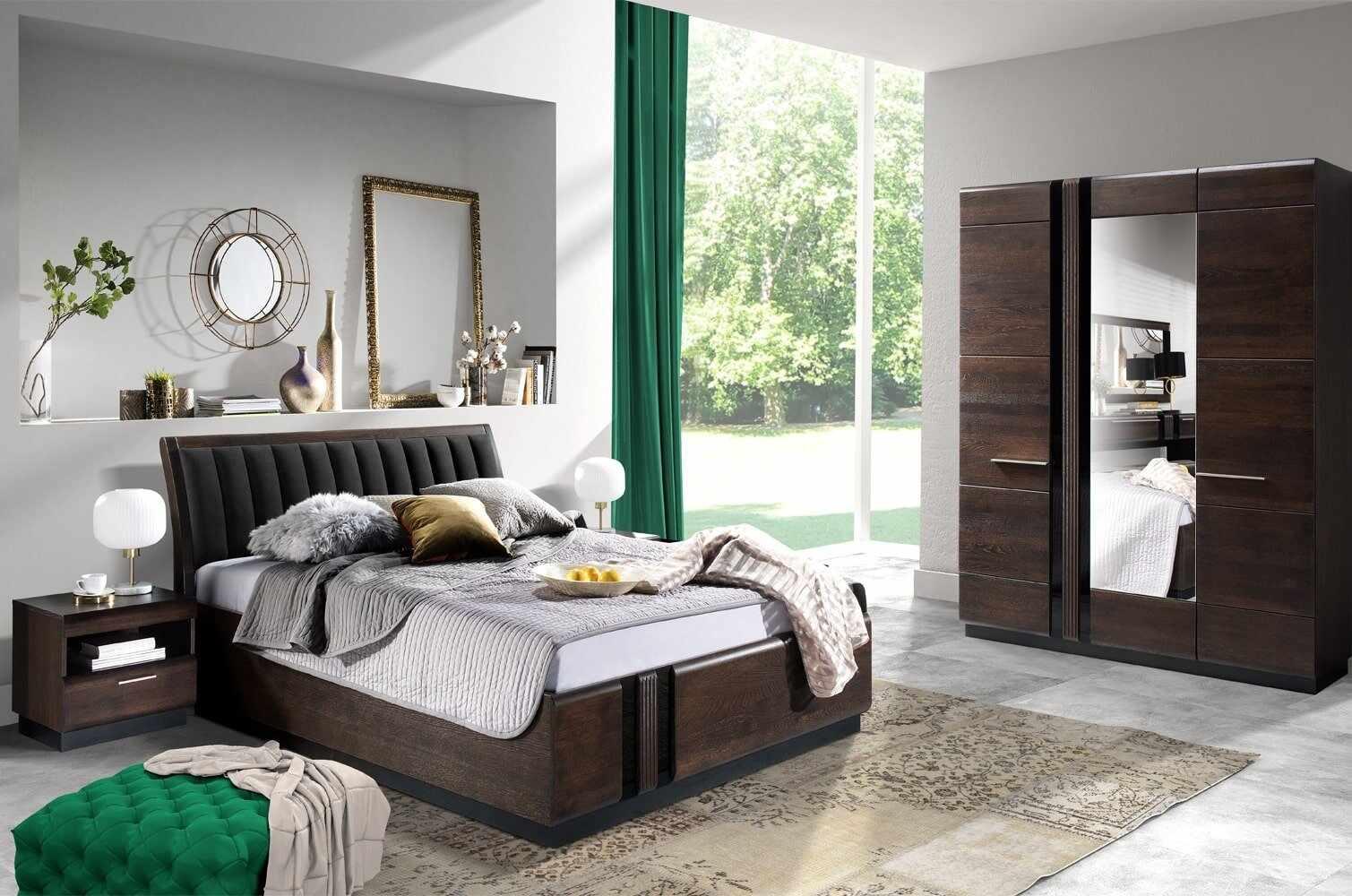 Set Mobila Dormitor din MDF si pal, cu pat 200 x 160 cm, 4 piese Porti Stejar Choco / Negru la pret 16356 lei