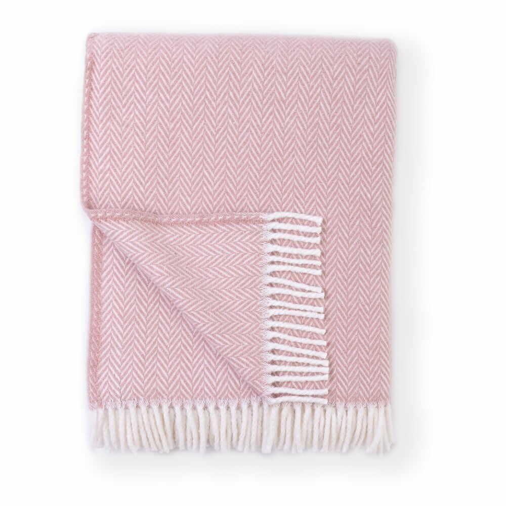 Pled din amestec de bumbac Euromant Skyline, 140 x 180 cm, roz la pret 215 lei