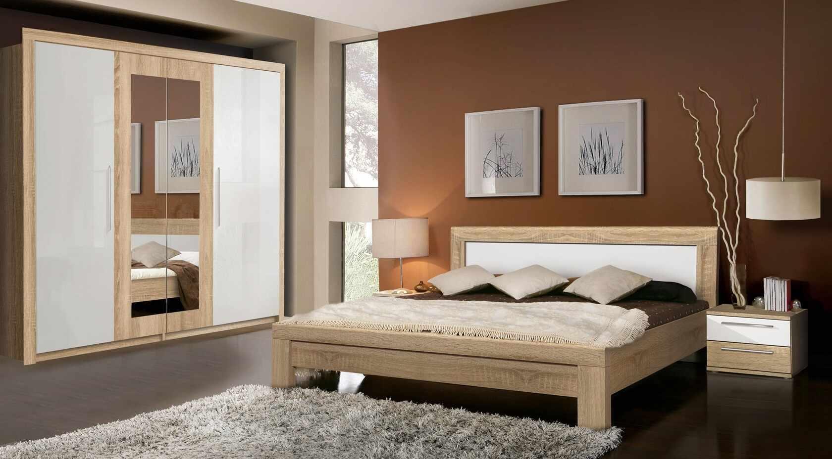 Set Mobila Dormitor din pal, 4 piese Jelte Stejar Sonoma / Alb-200 x 160 cm la pret 7308 lei