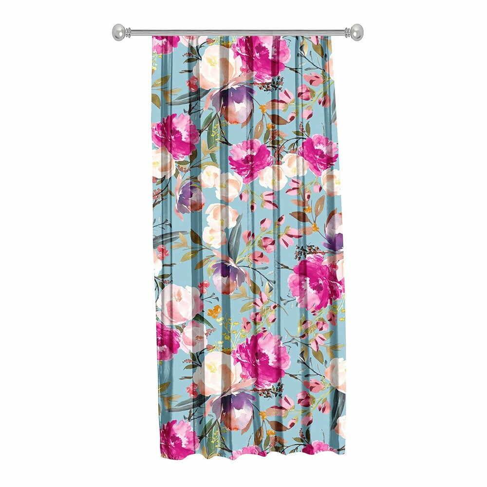 Draperie Mike & Co. NEW YORK Butterflies Blossom, 140 x 270 cm, albastru-roz la pret 185 lei