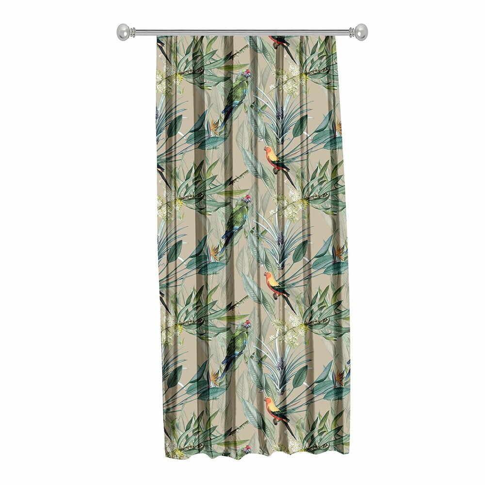 Draperie Mike & Co. NEW YORK Jungle Birds, 140 x 270 cm, bej-verde la pret 185 lei