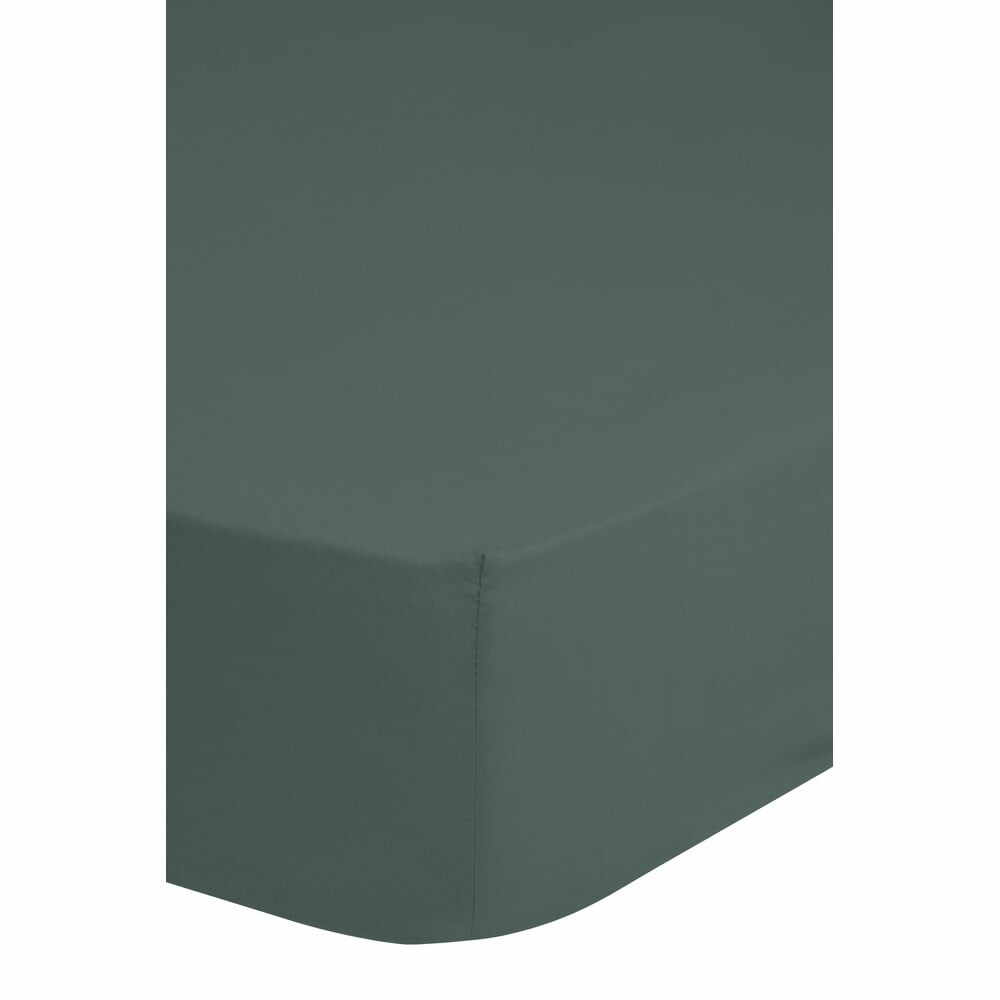 Cearșaf elastic din bumbac Good Morning,160x200cm, verde închis la pret 151 lei