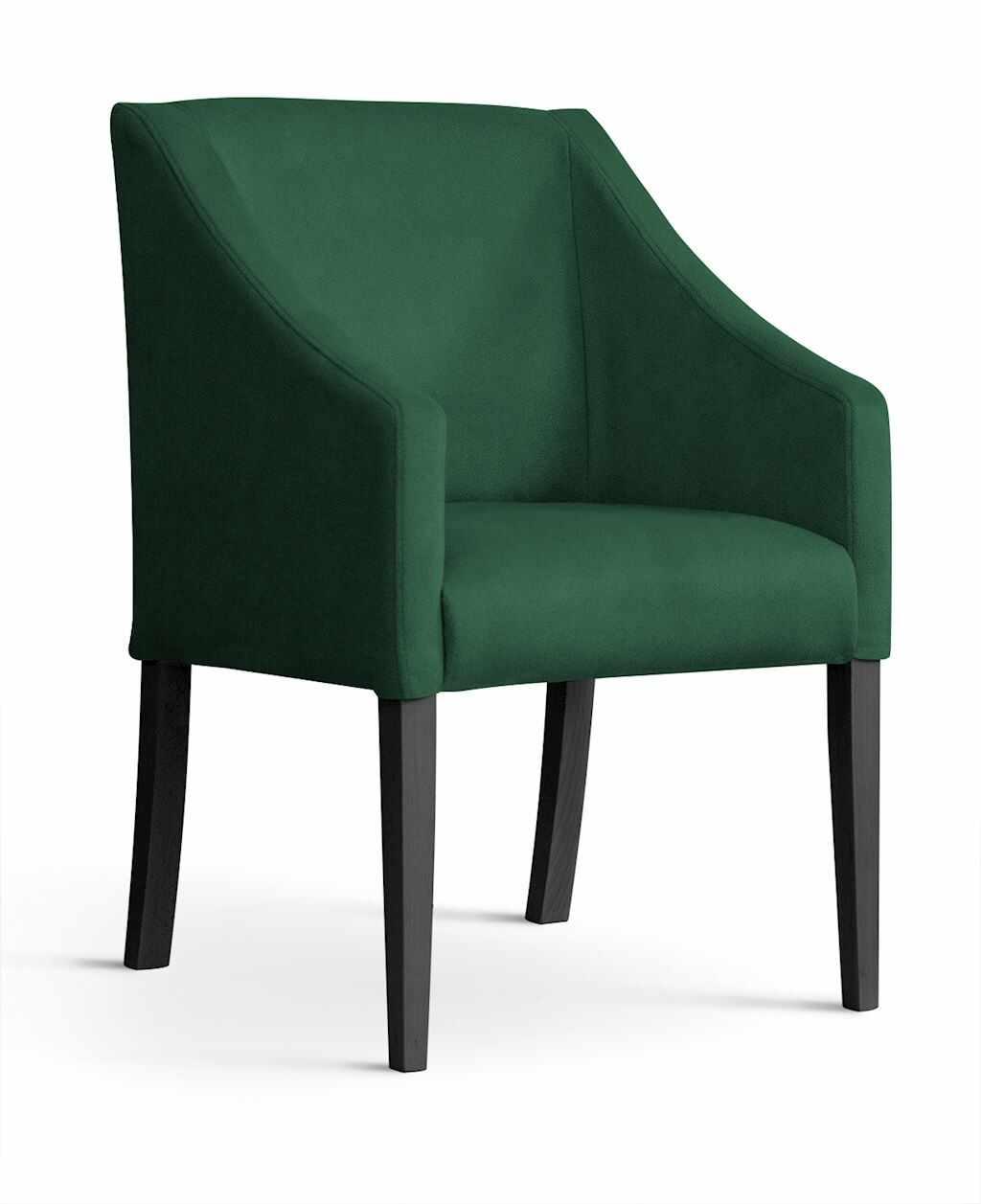 Fotoliu fix tapitat cu stofa si picioare din lemn Capri Velvet Verde / Negru, l58xA60xH89 cm la pret 902 lei